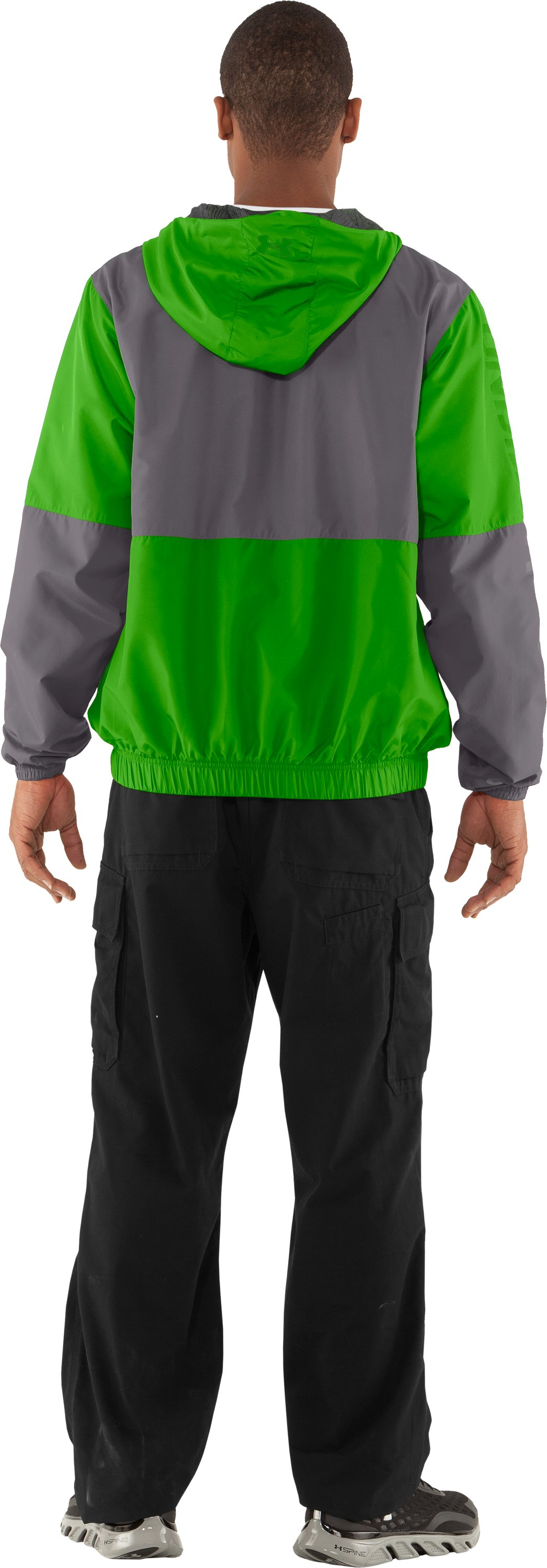 Men's UA Acoustic Windbreaker, PARROT GREEN, Back