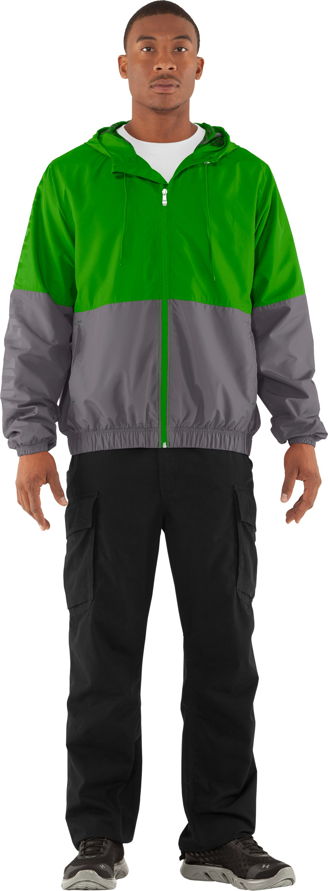 Men's UA Acoustic Windbreaker, PARROT GREEN, Front