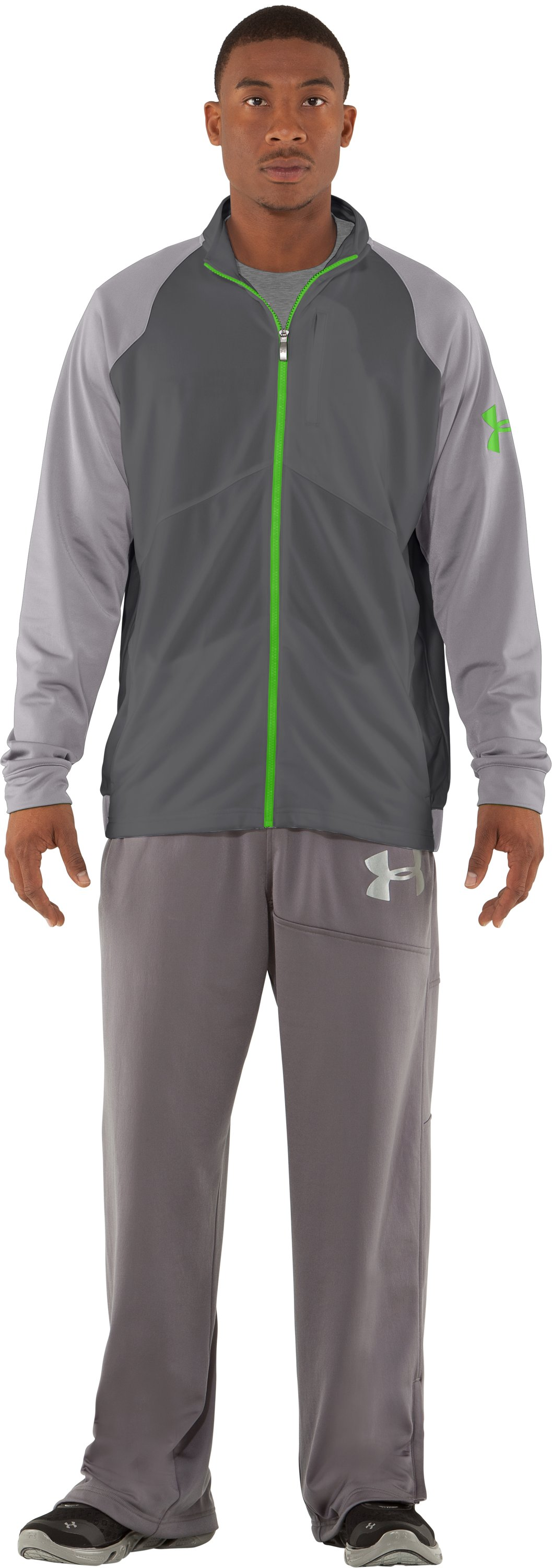 Men's UA Deuces Warm-Up Jacket, Graphite, Front