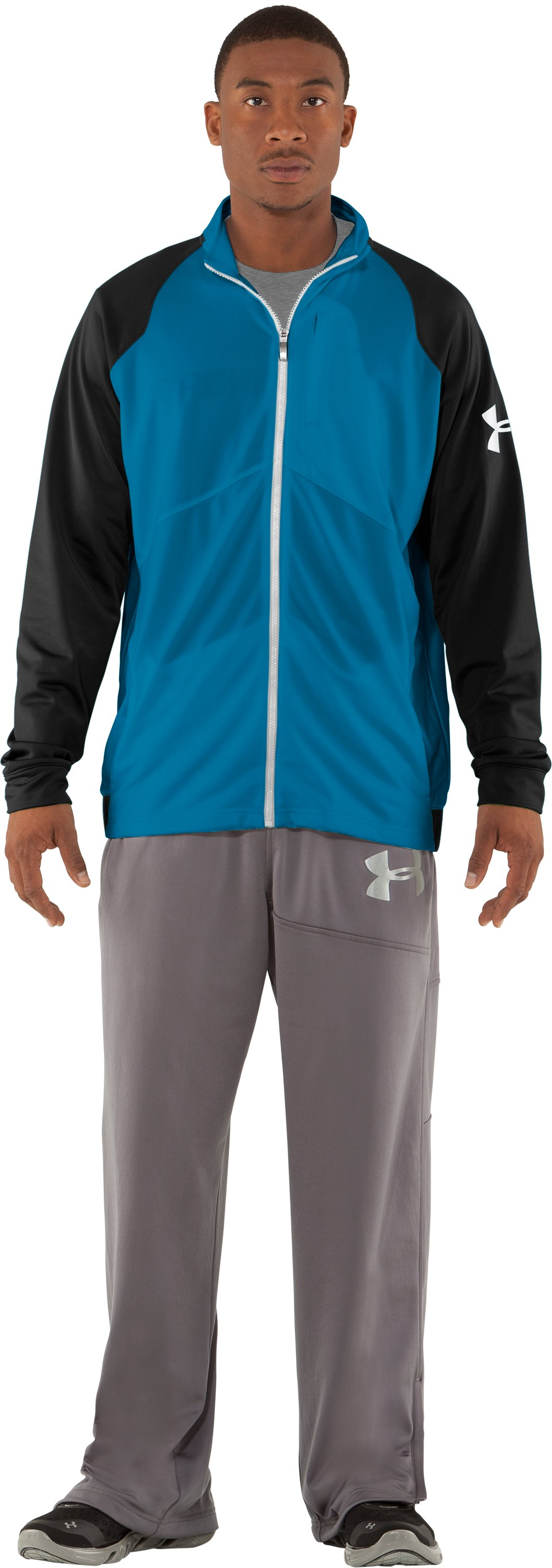Men's UA Deuces Warm-Up Jacket, SNORKEL, Front