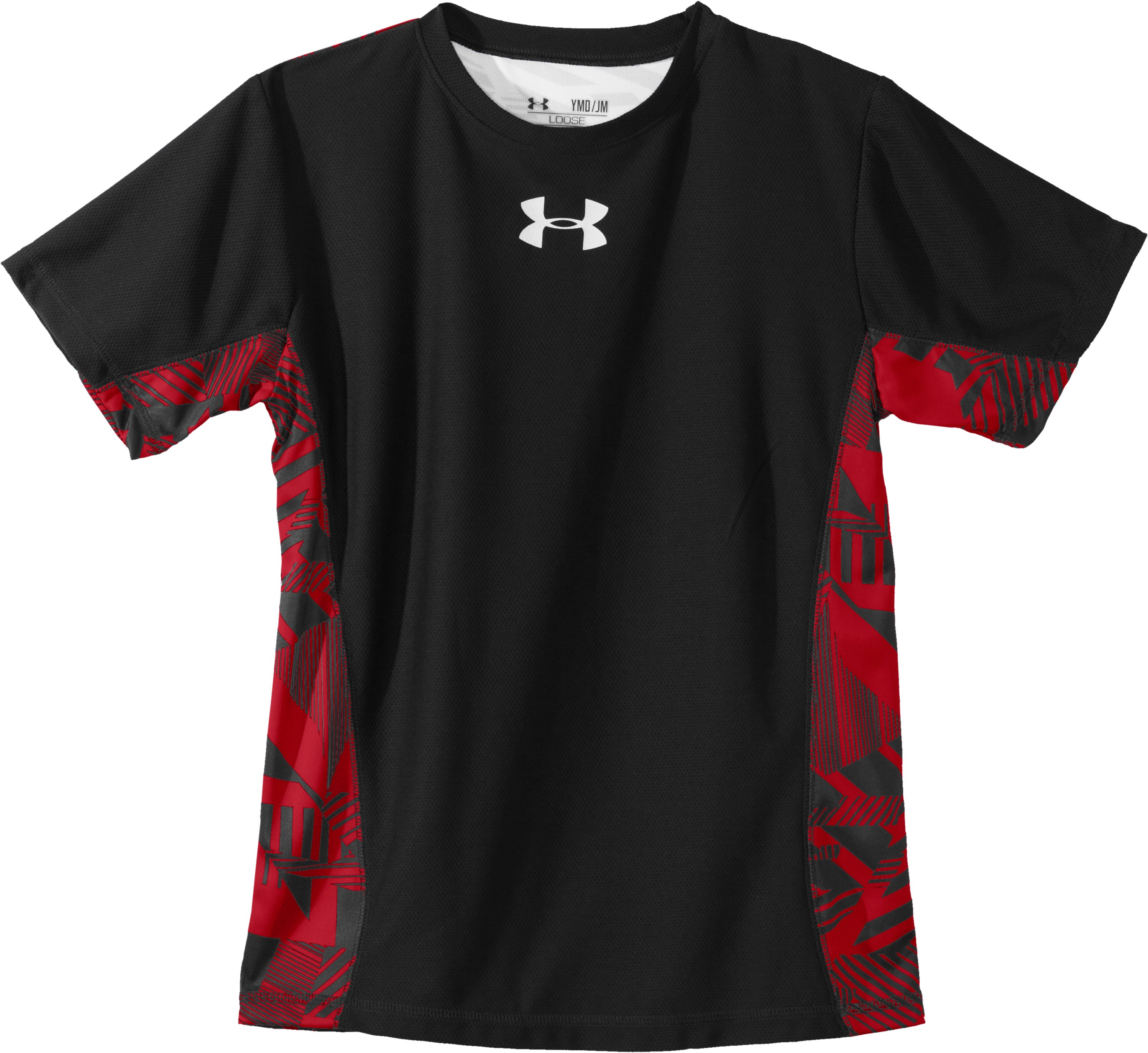 Boys' UA Domineer Short Sleeve, Black , Laydown
