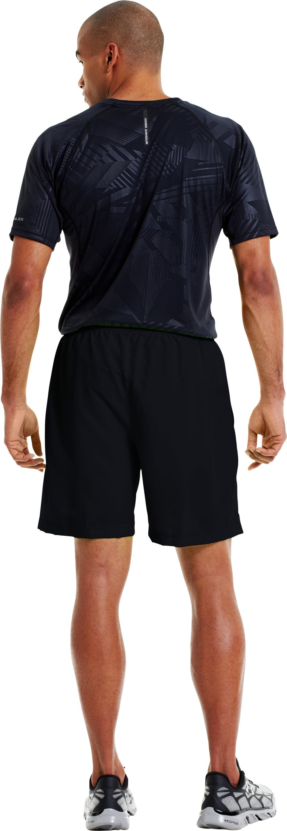 "Men's UA Escape 7"" Solid Run Shorts, Black , Back"