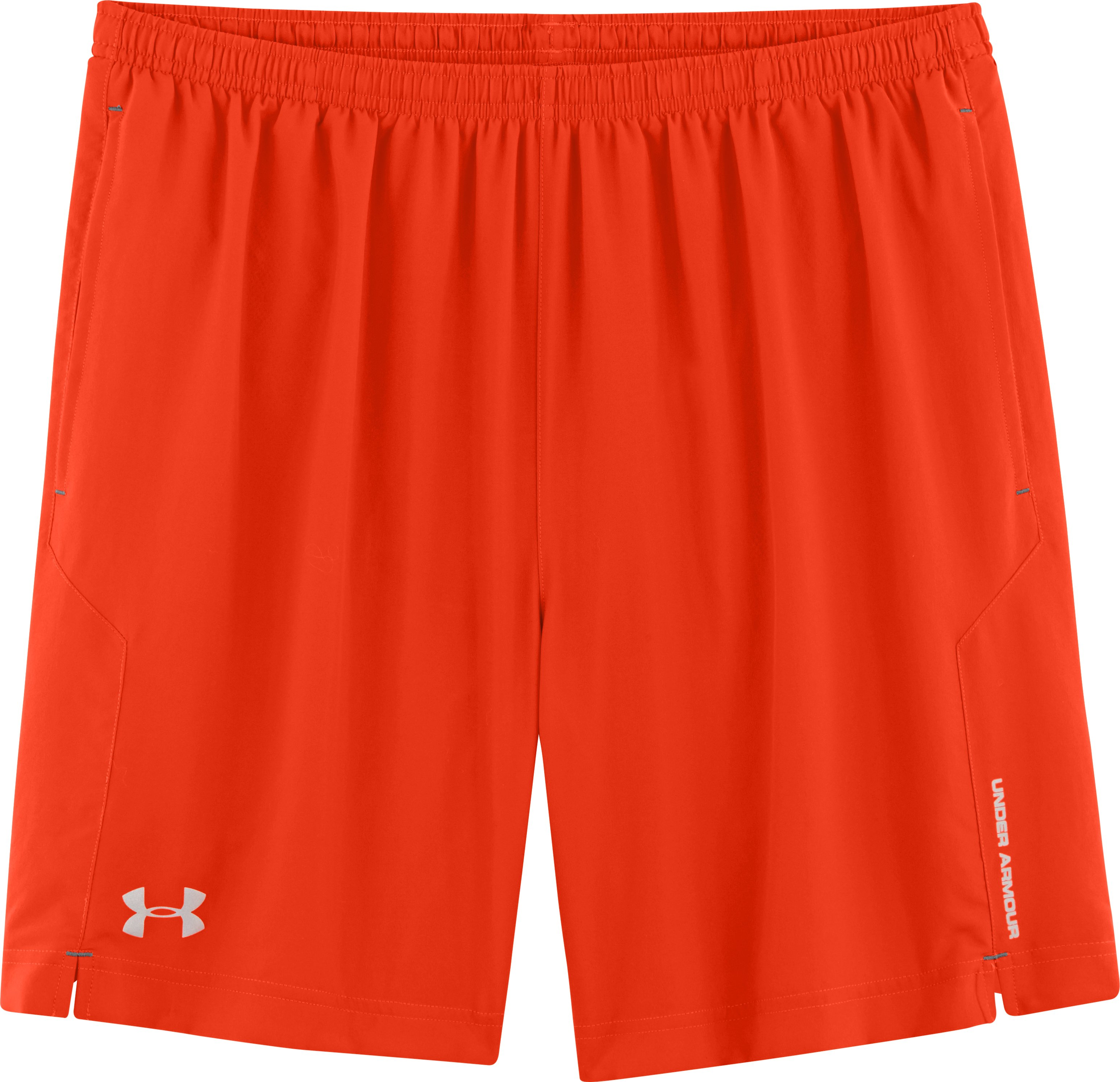 "Men's UA Escape 7"" Solid Run Shorts, Volcano, Laydown"