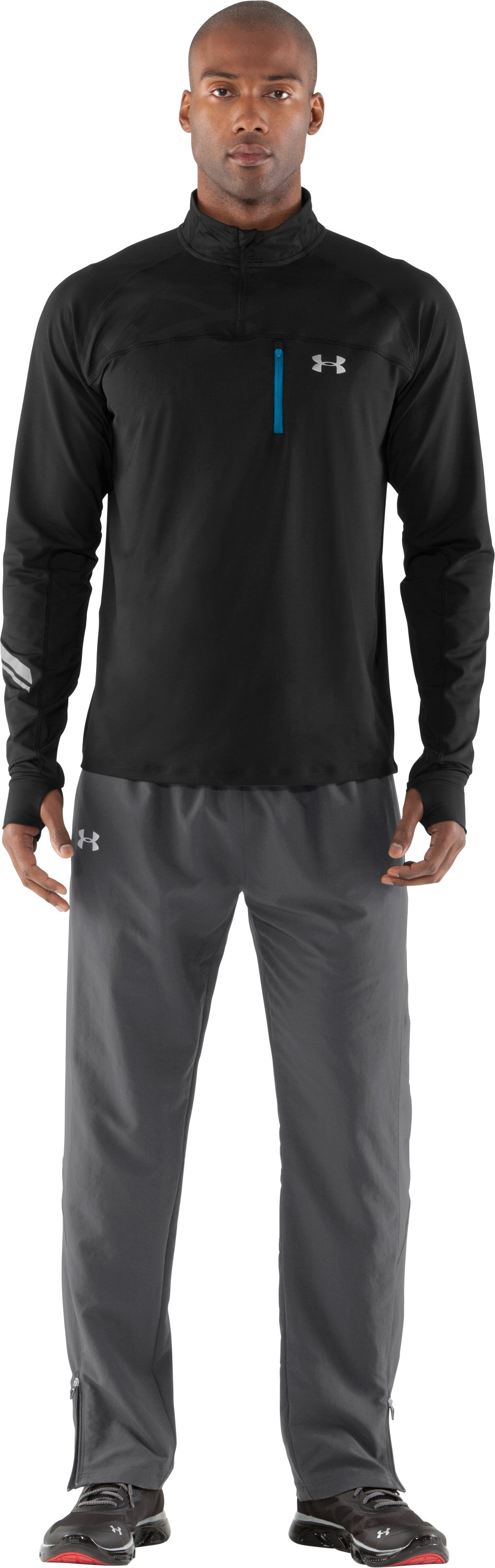 Men's UA Imminent Run ¼ Zip, Black , Front