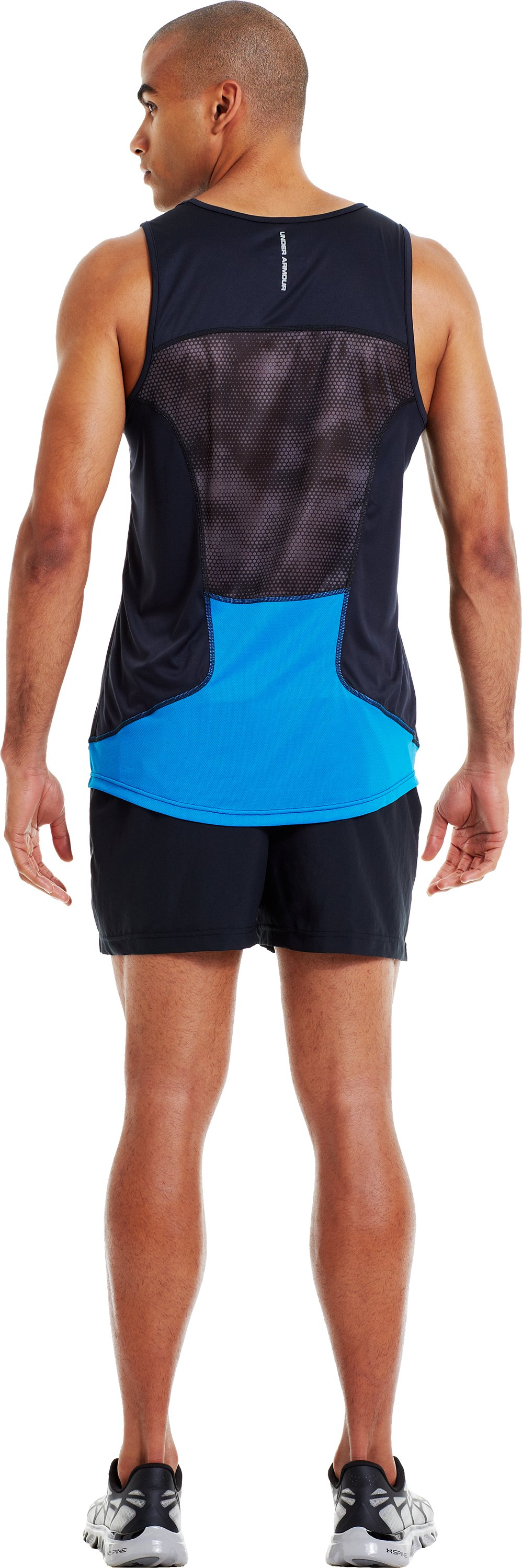 Men's HeatGear® Flyweight Run Singlet, Black , Back