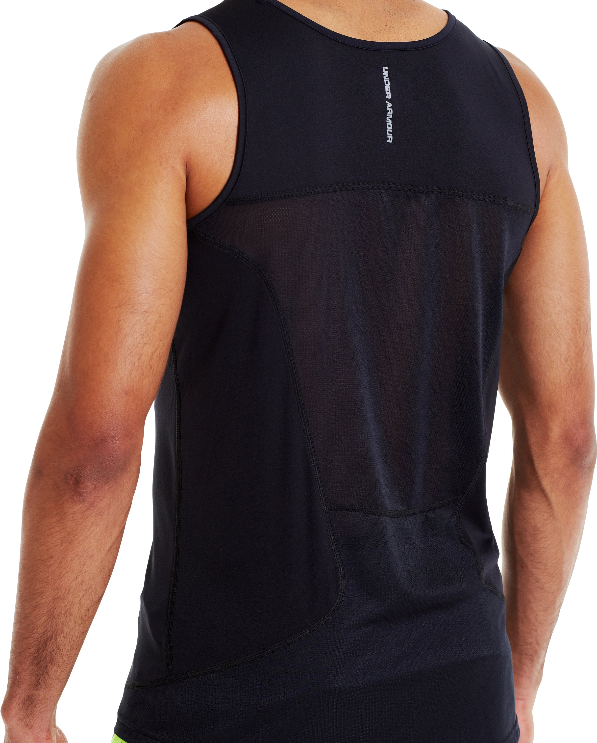 Men's HeatGear® Flyweight Run Singlet, SNORKEL, undefined