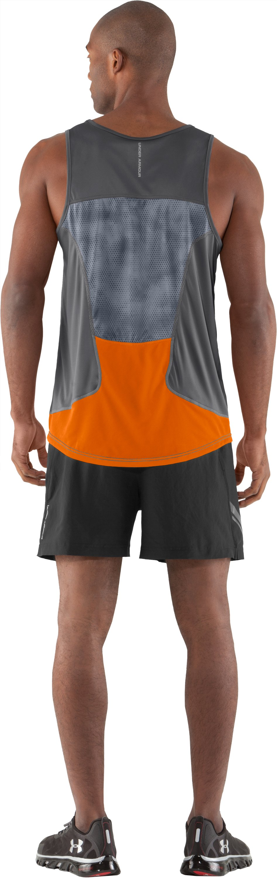 Men's HeatGear® Flyweight Run Singlet, Graphite, Back