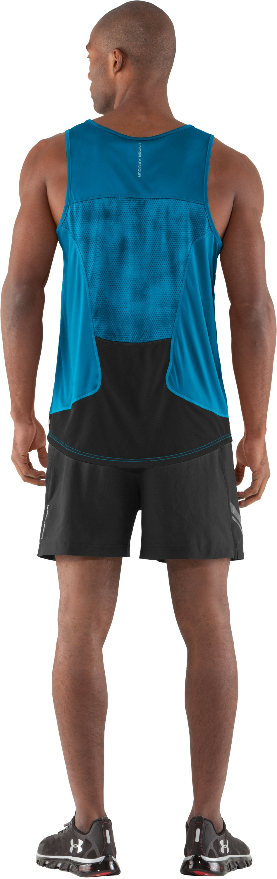 Men's HeatGear® Flyweight Run Singlet, SNORKEL, Back