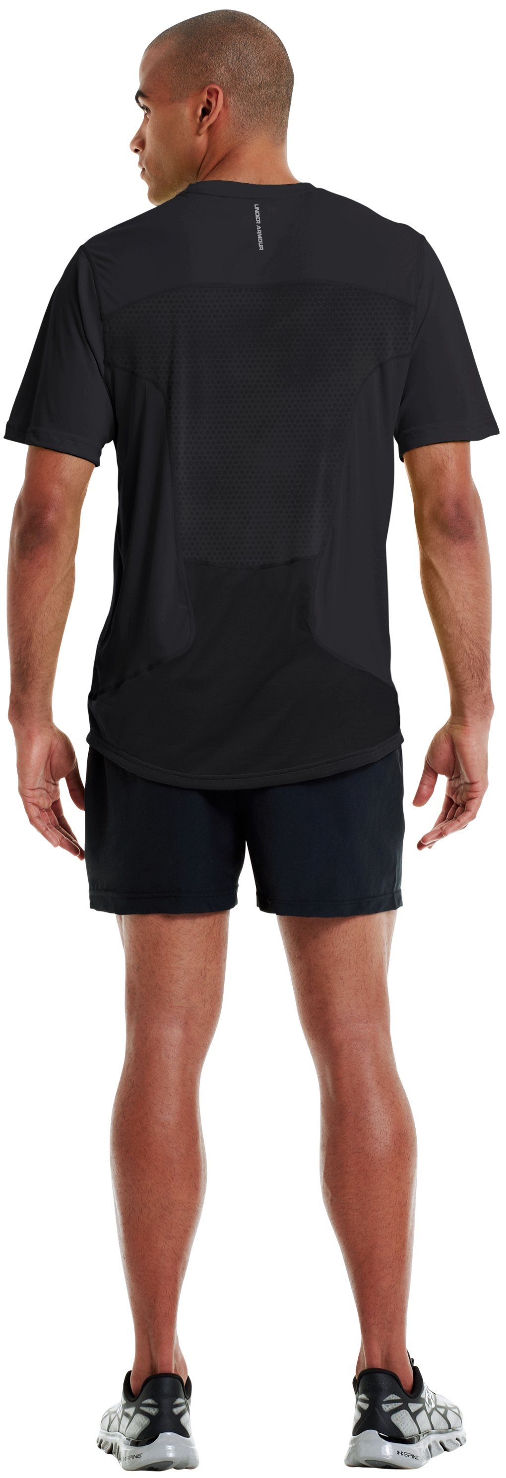 Men's HeatGear® Flyweight Run Short Sleeve, Black , Back