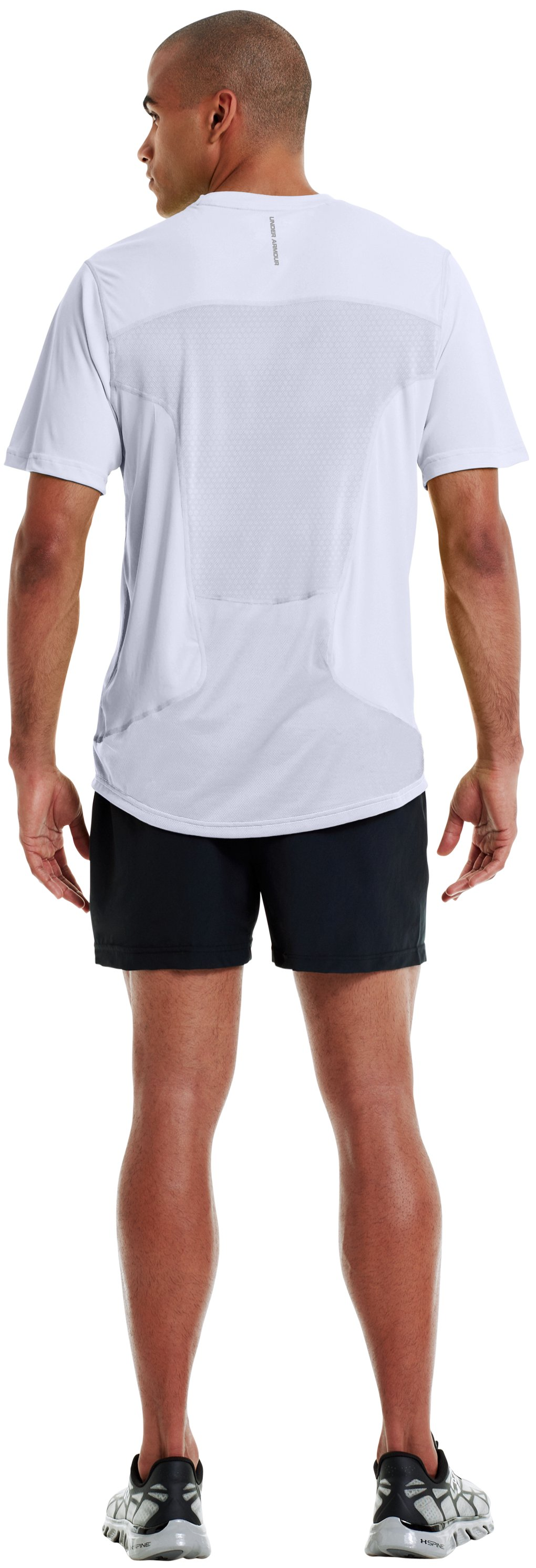 Men's HeatGear® Flyweight Run Short Sleeve, White, Back