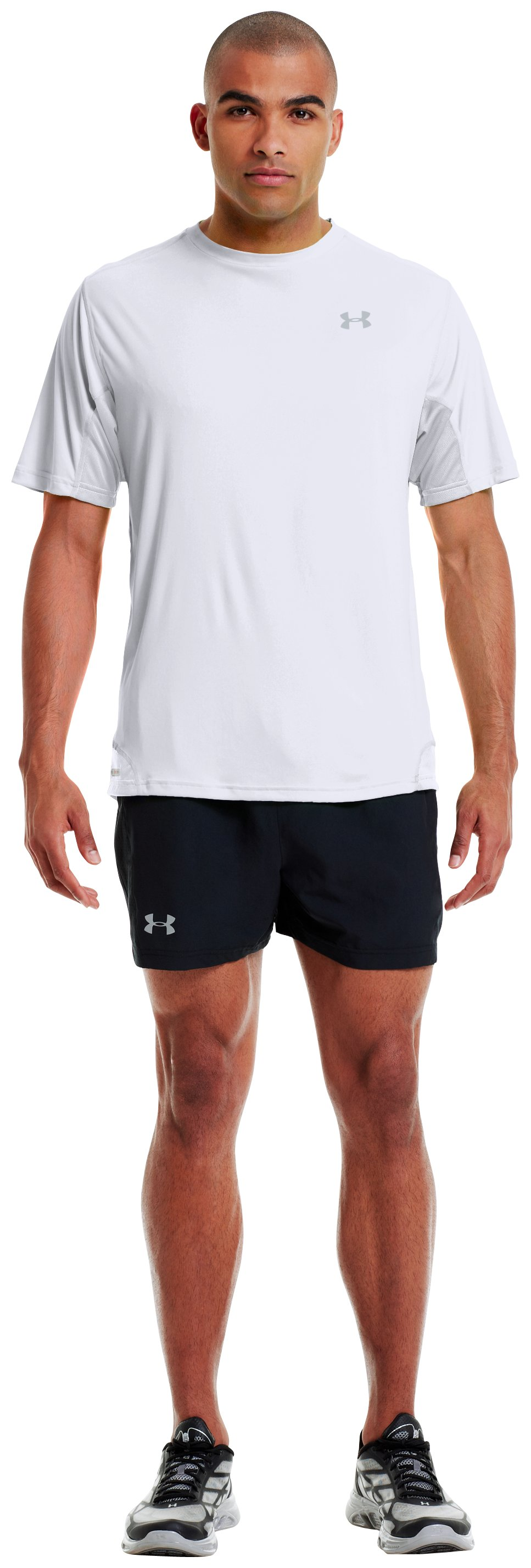 Men's HeatGear® Flyweight Run Short Sleeve, White, Front