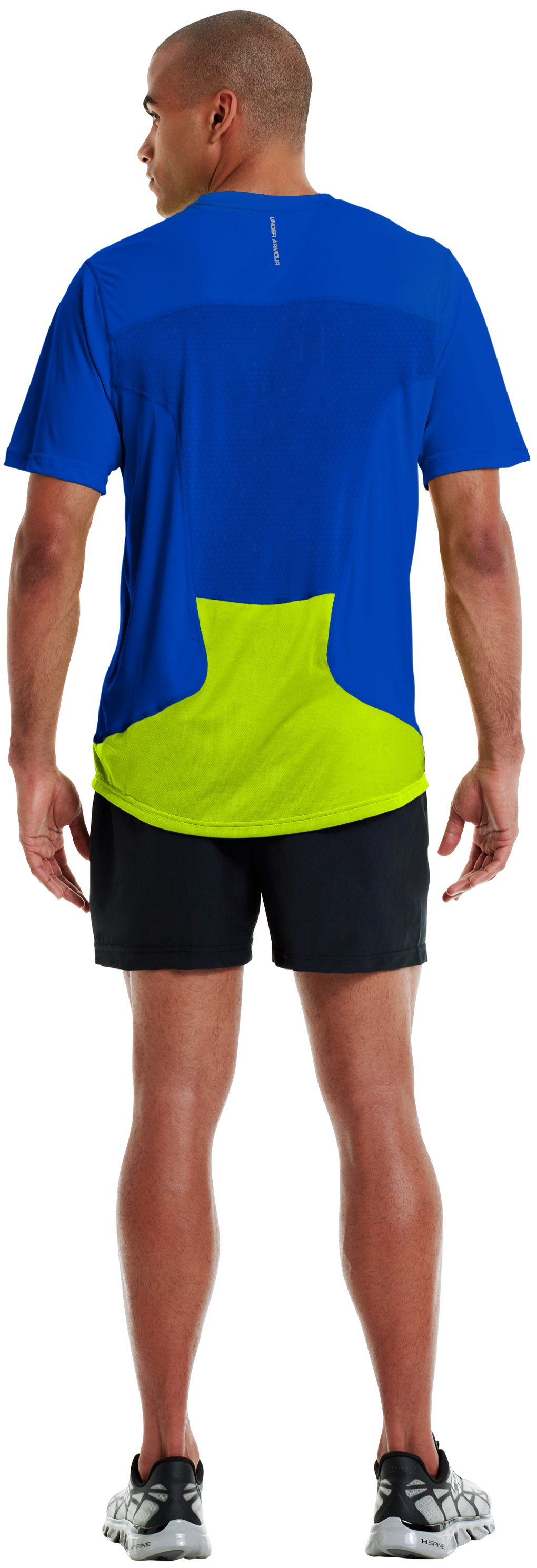 Men's HeatGear® Flyweight Run Short Sleeve, Moon Shadow, Back