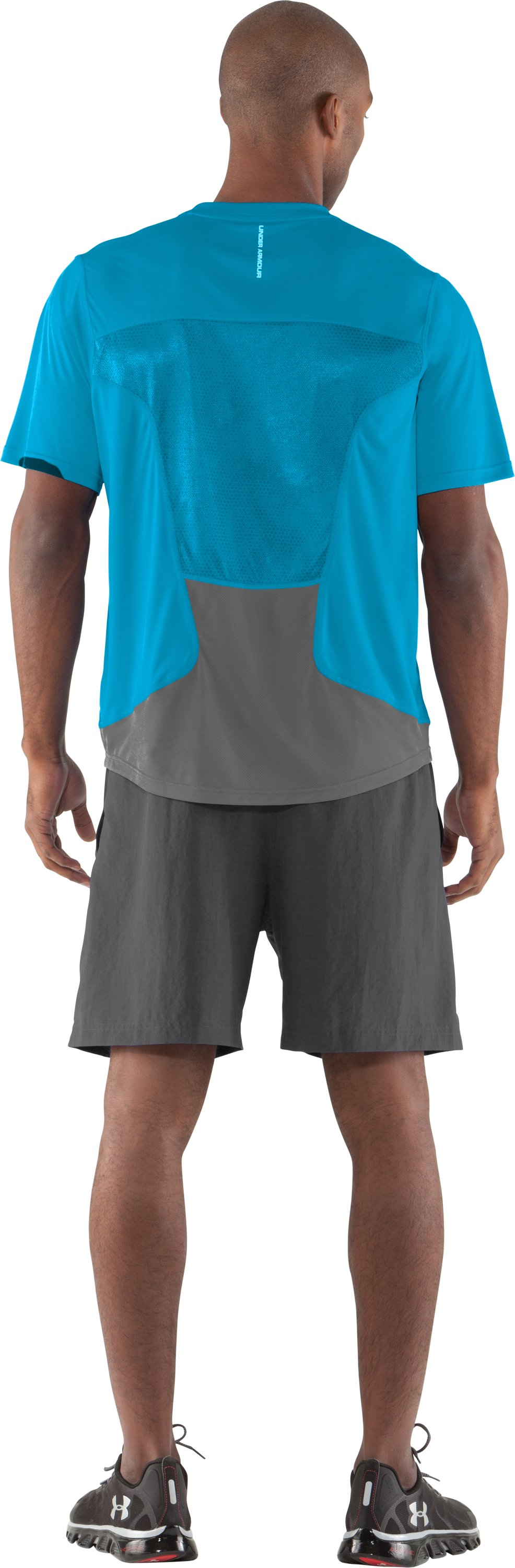 Men's HeatGear® Flyweight Run Short Sleeve, Cortez, Back
