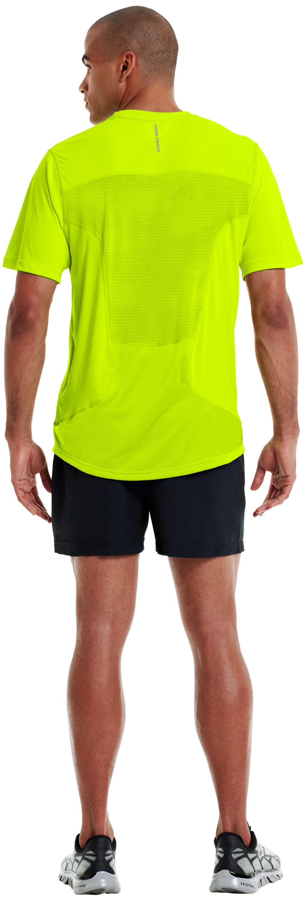 Men's HeatGear® Flyweight Run Short Sleeve, High-Vis Yellow, Back