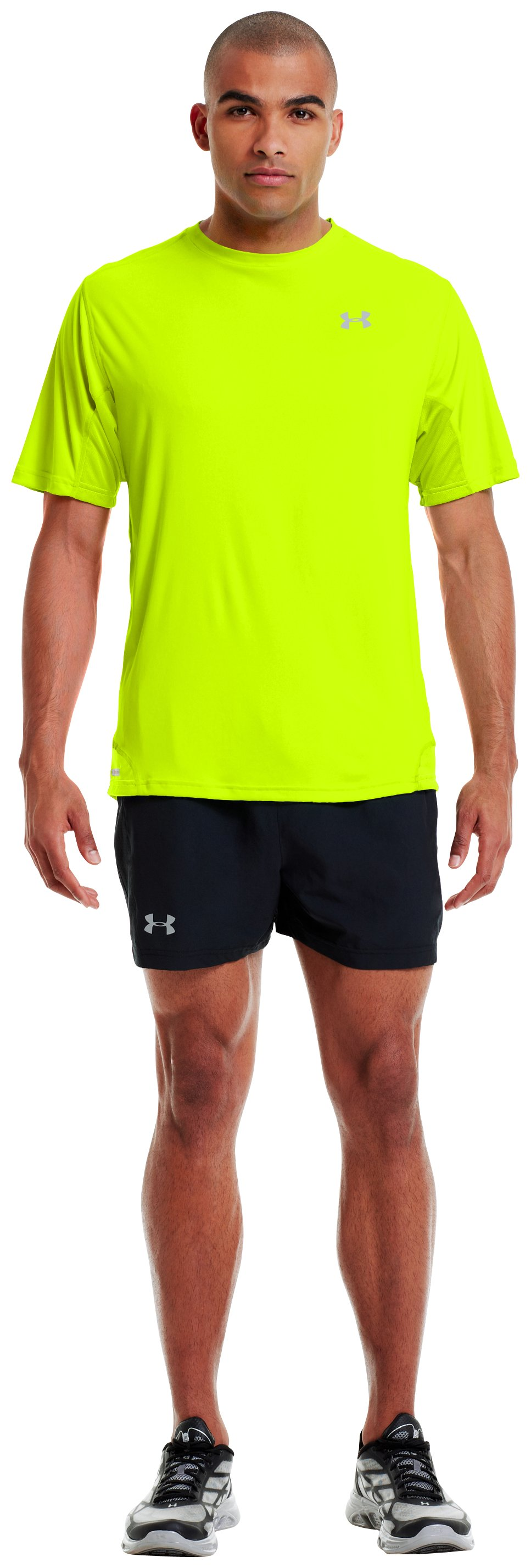 Men's HeatGear® Flyweight Run Short Sleeve, High-Vis Yellow, zoomed image