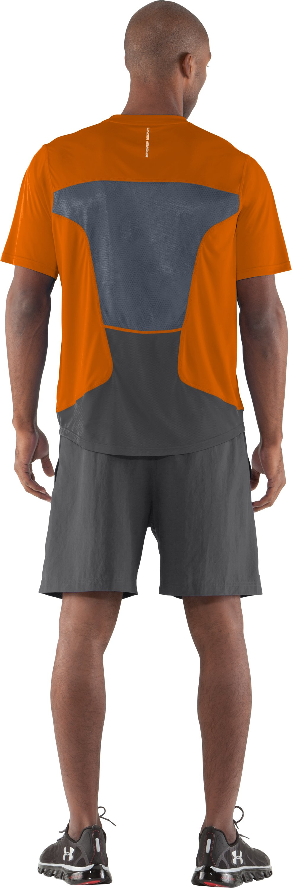 Men's HeatGear® Flyweight Run Short Sleeve, Blaze Orange, Back
