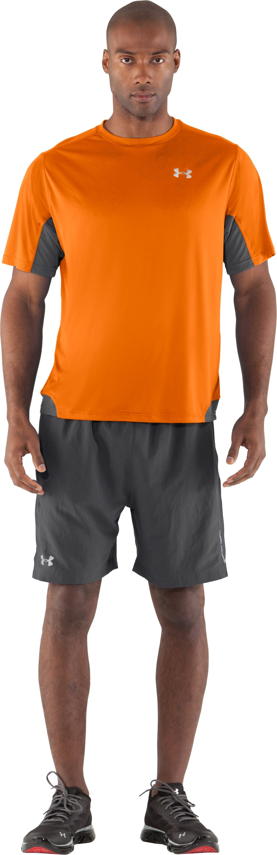 Men's HeatGear® Flyweight Run Short Sleeve, Blaze Orange, zoomed image
