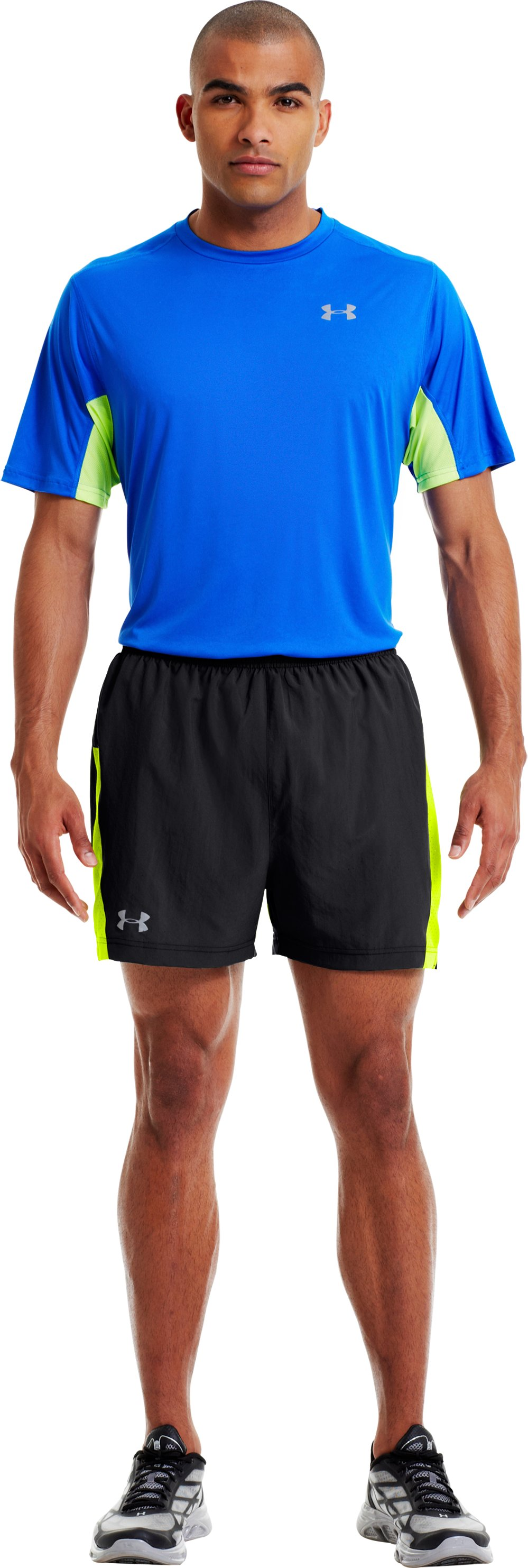 Men's UA HeatGear® Flyweight Run Shorts, Black , zoomed image