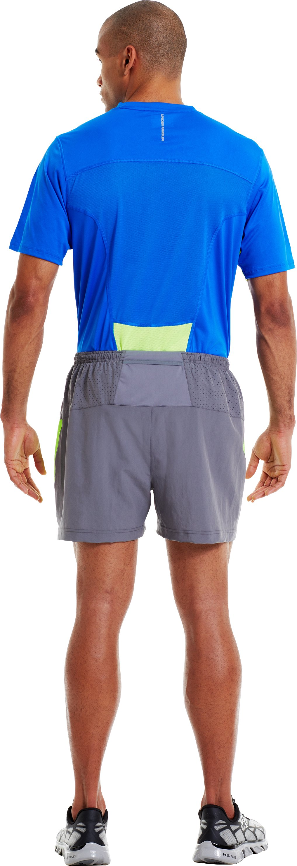 Men's UA HeatGear® Flyweight Run Shorts, Graphite, Back