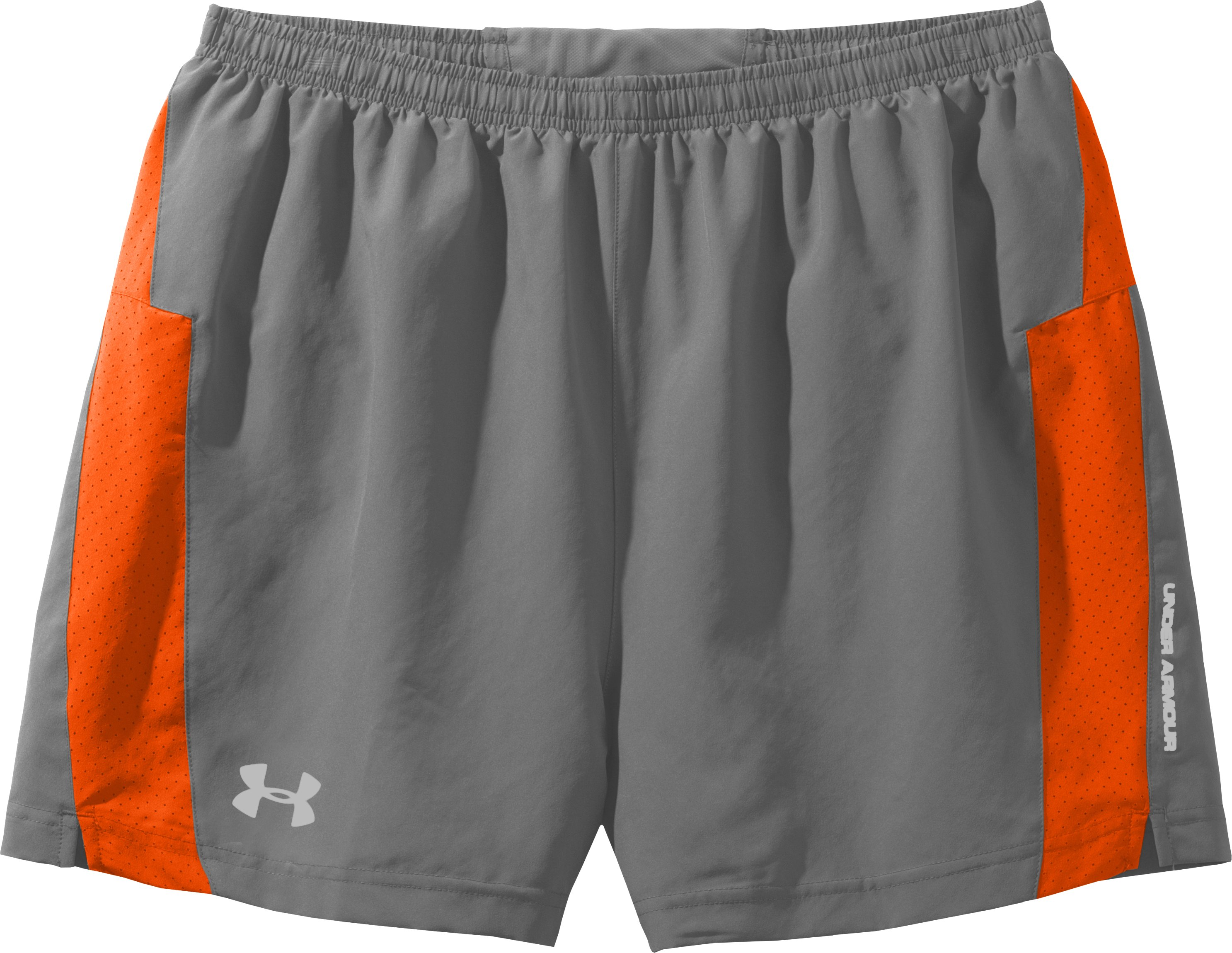 Men's UA HeatGear® Flyweight Run Shorts, Graphite, Laydown