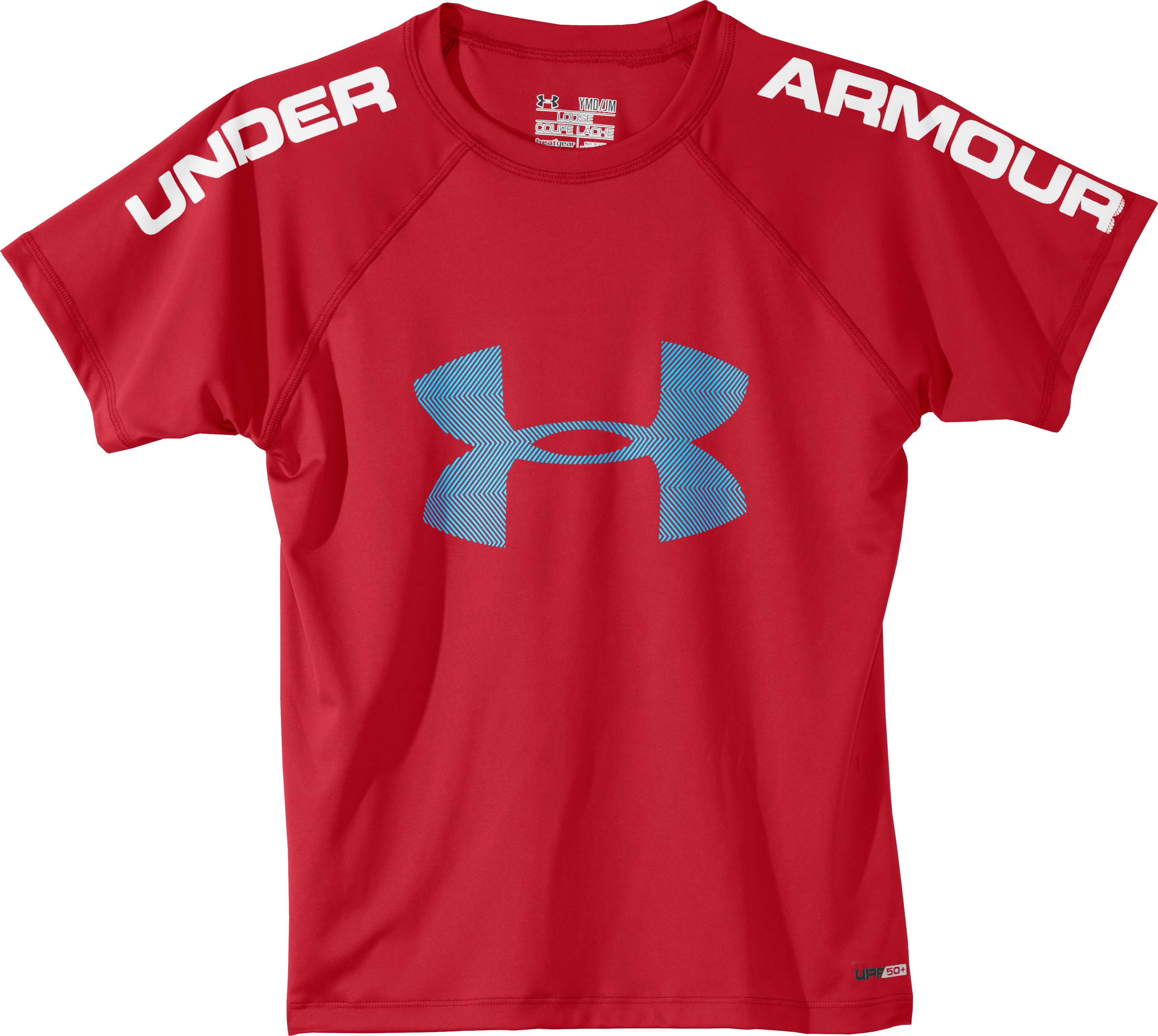 Boys' UA Ripping Sun-Activated Short Sleeve, Red