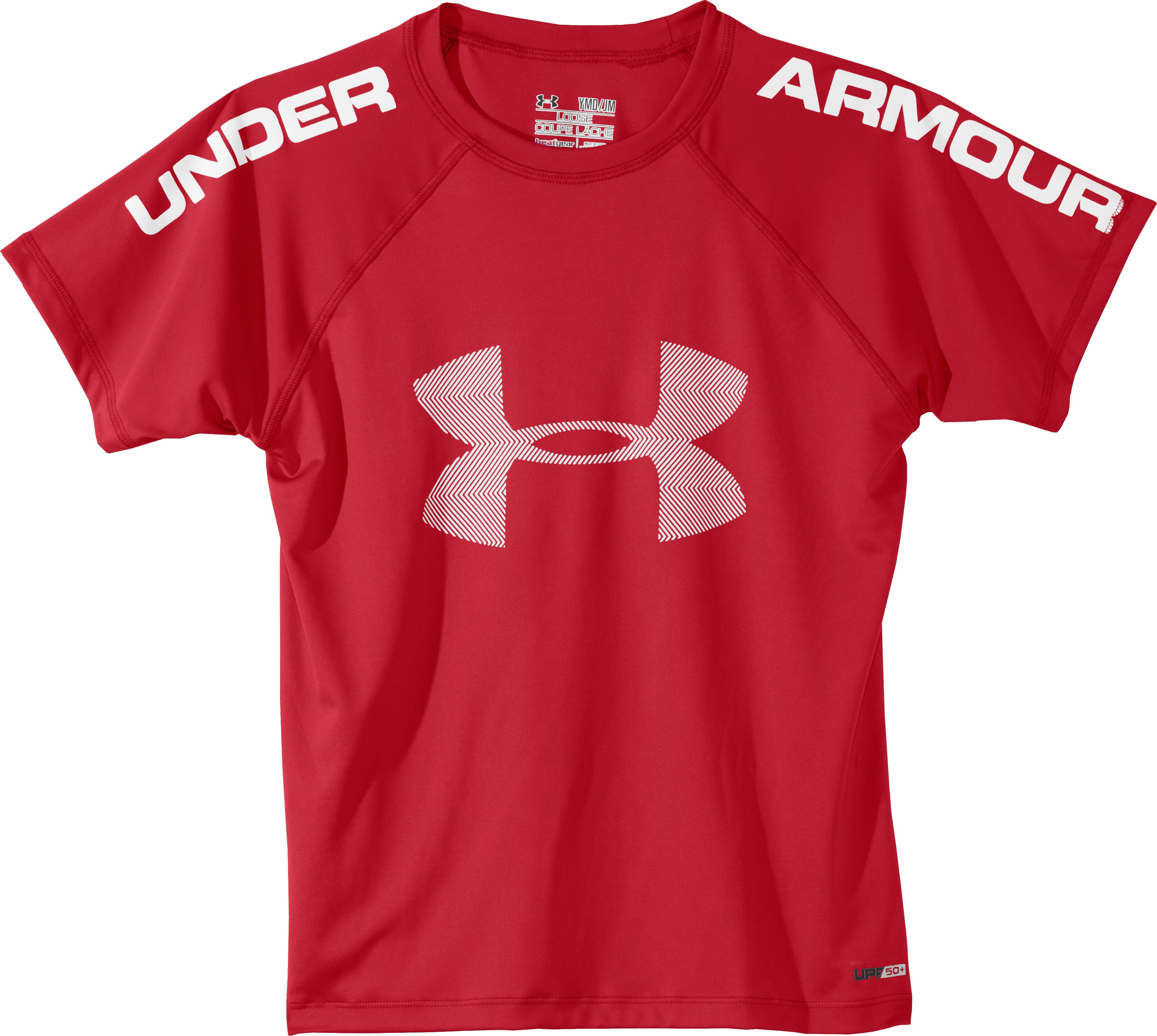 Boys' UA Ripping Sun-Activated Short Sleeve, Red, Laydown