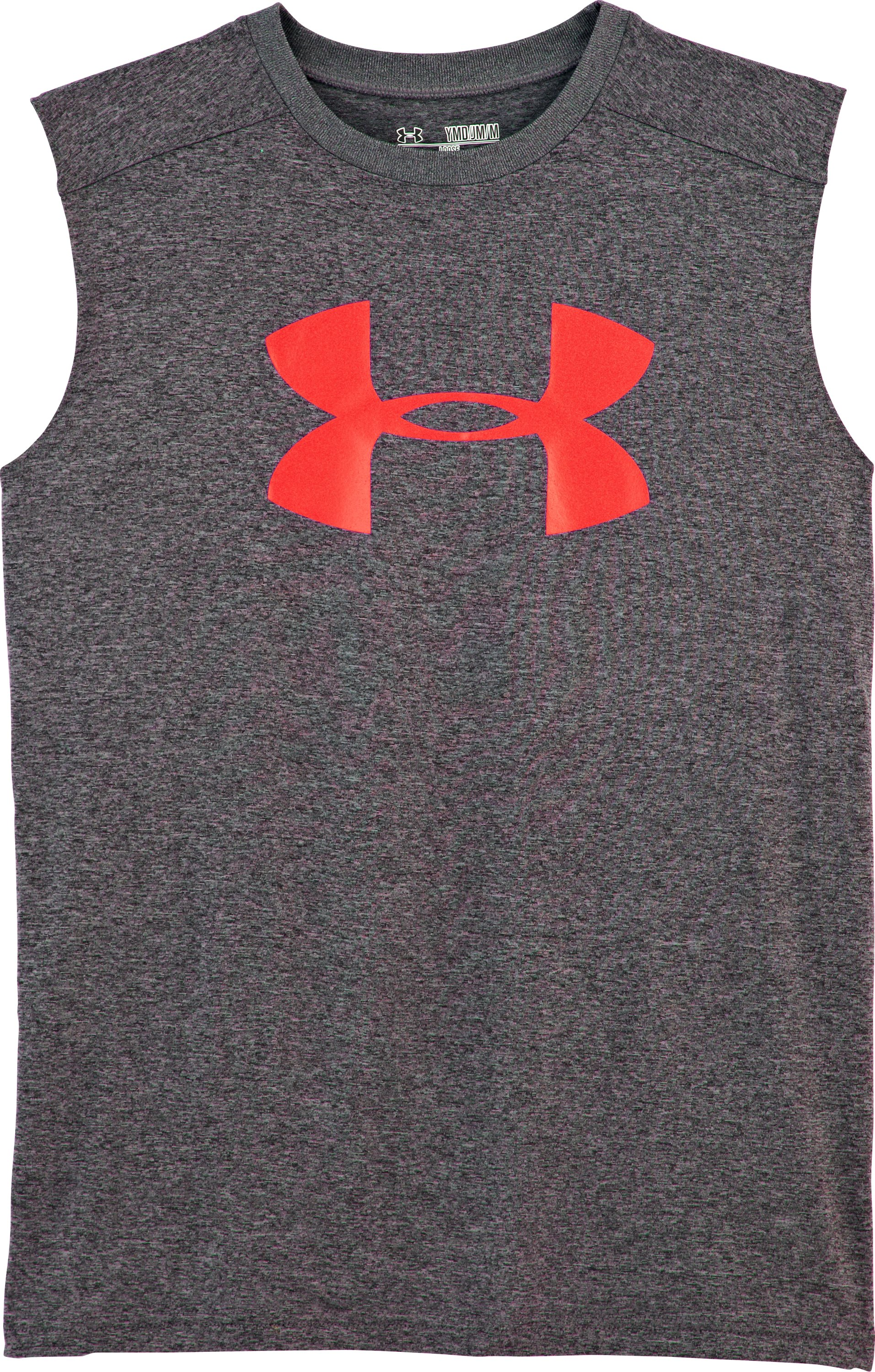 Boys' UA Tech™ Big Logo Sleeveless T-Shirt, Carbon Heather, Laydown
