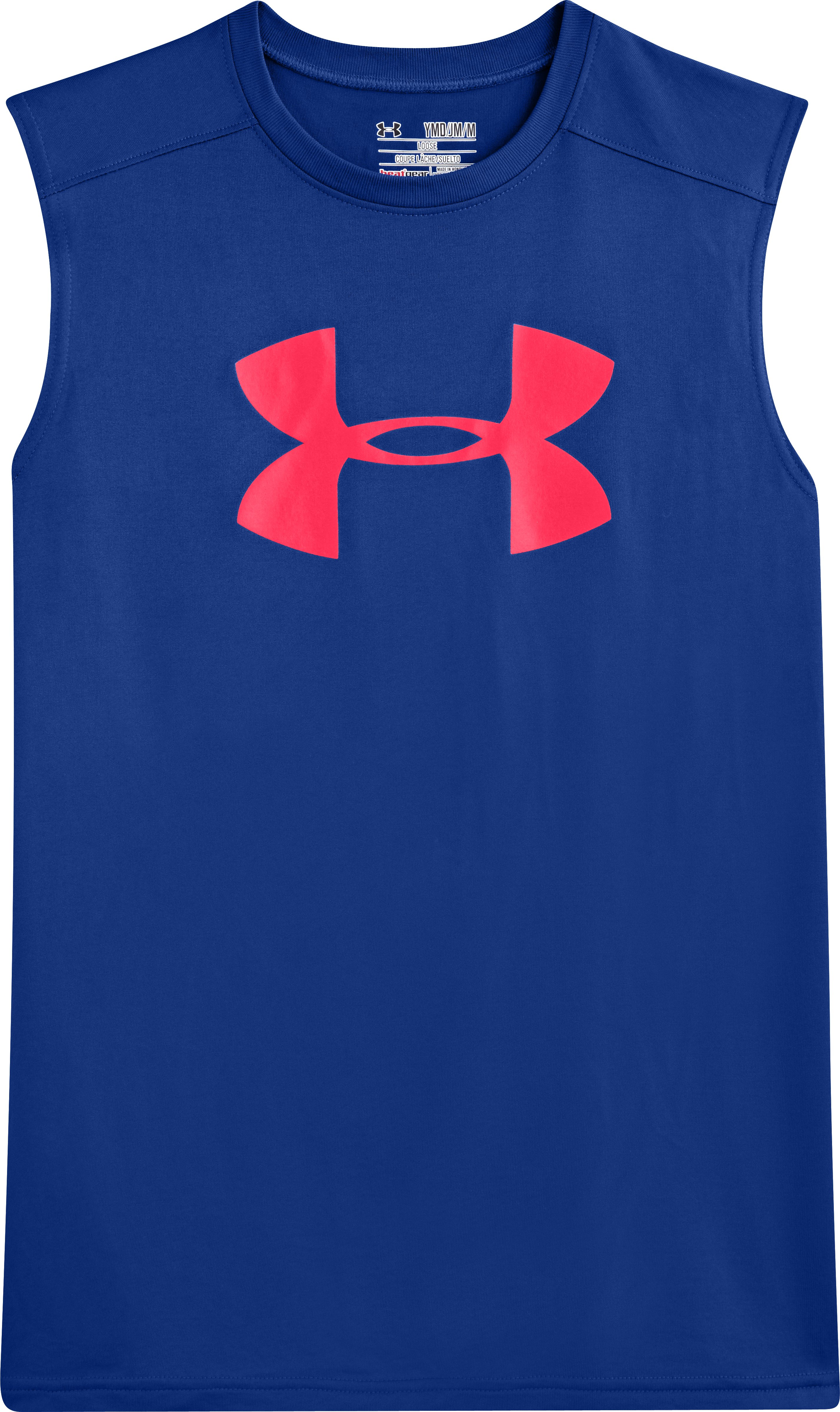 Boys' UA Tech™ Big Logo Sleeveless T-Shirt, Royal, Laydown