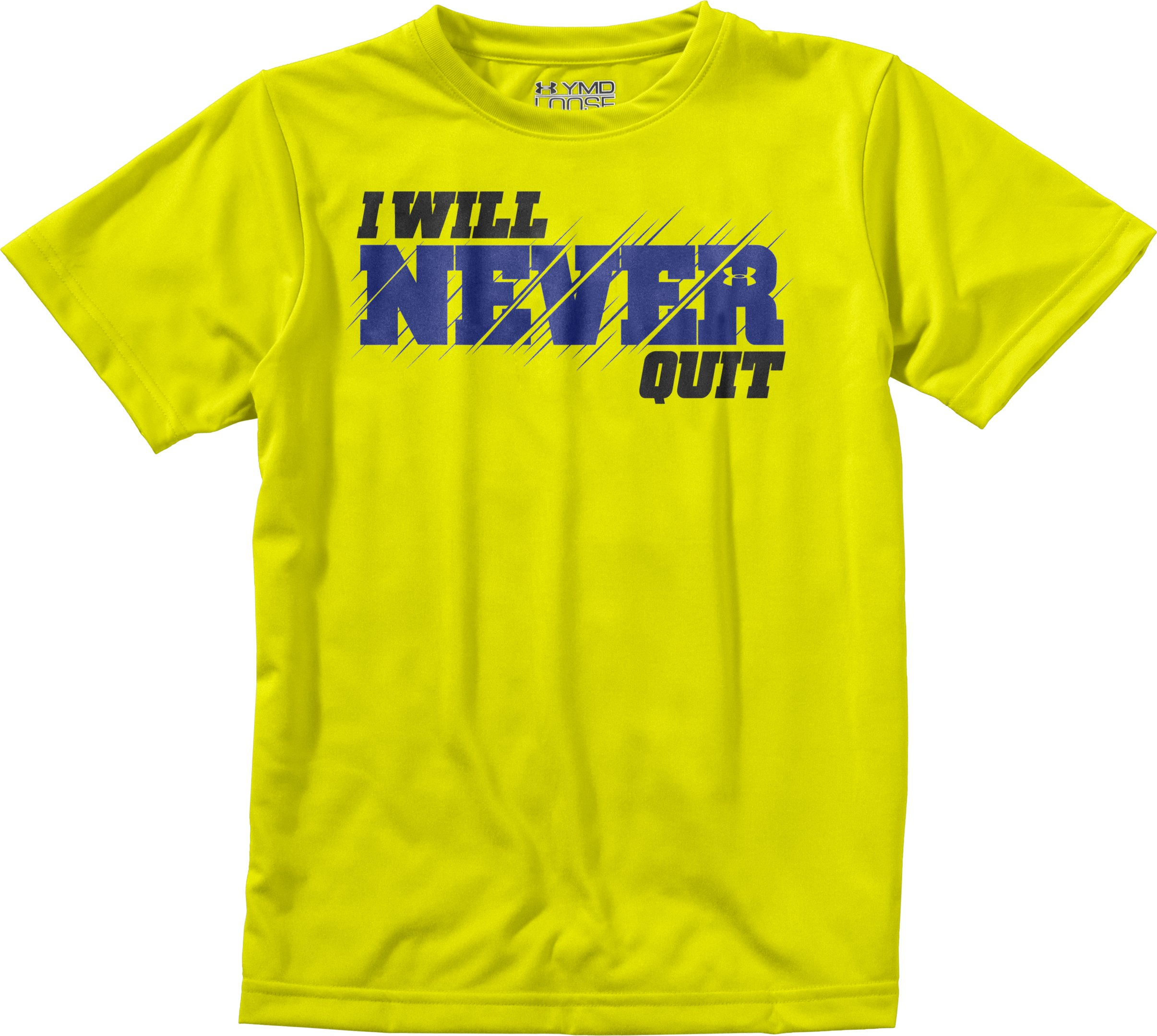 Boys' UA I WILL® Never Quit T-Shirt, High-Vis Yellow, Laydown
