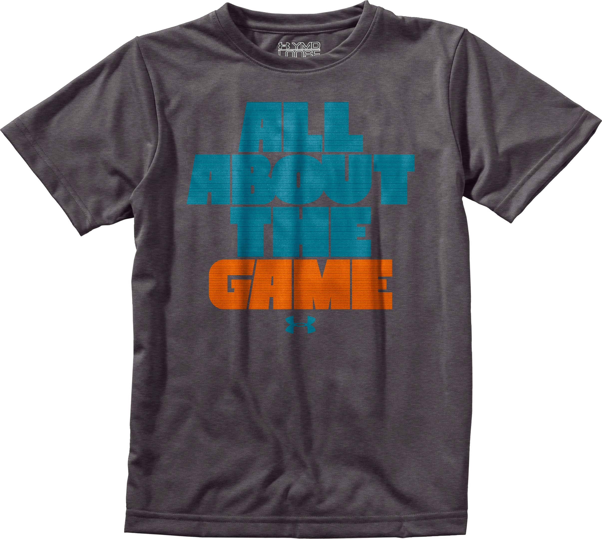 Boys' UA The Game T-Shirt, Carbon Heather, Laydown
