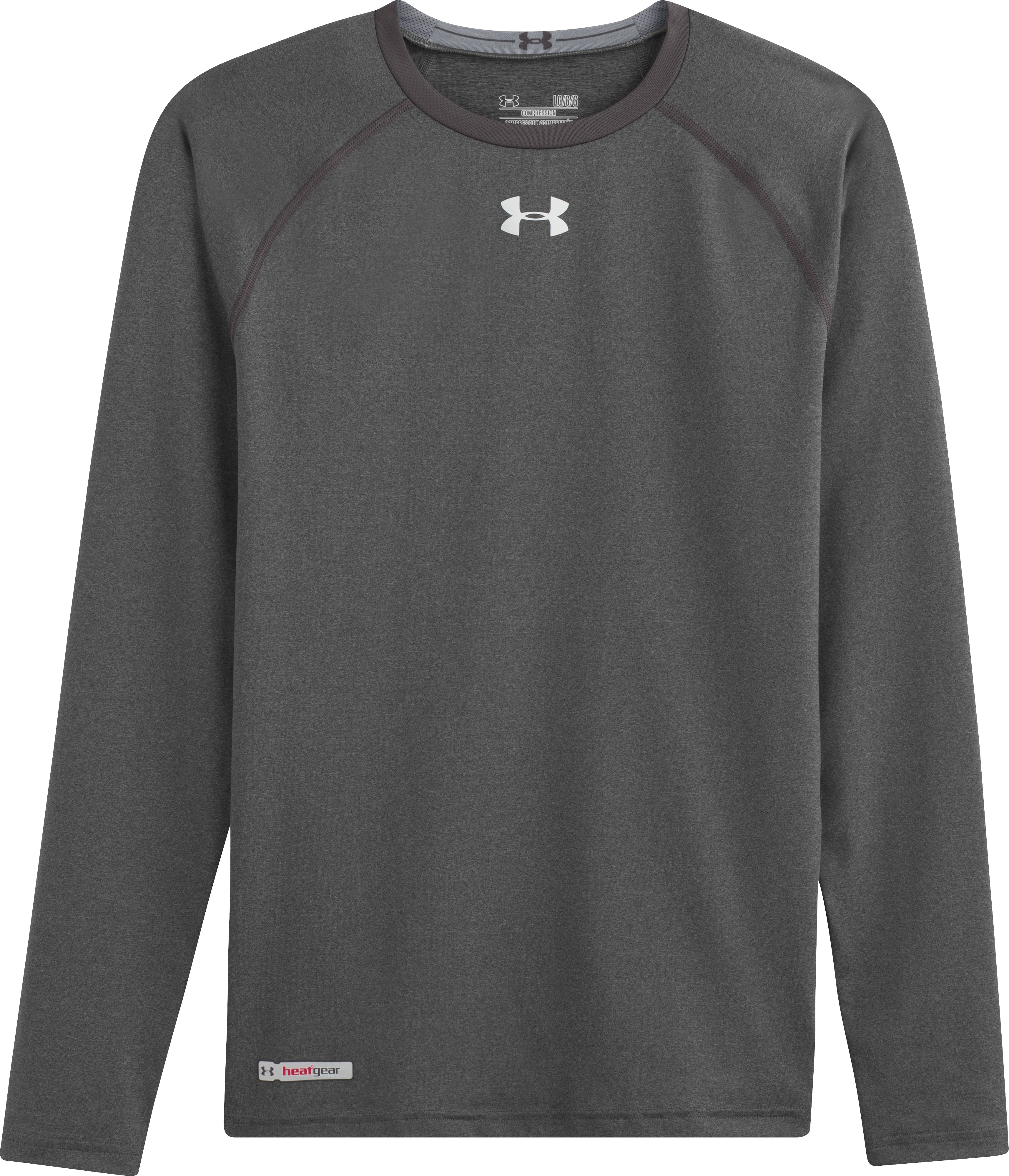 Men's HeatGear® Sonic Compression Long Sleeve, Carbon Heather, Laydown