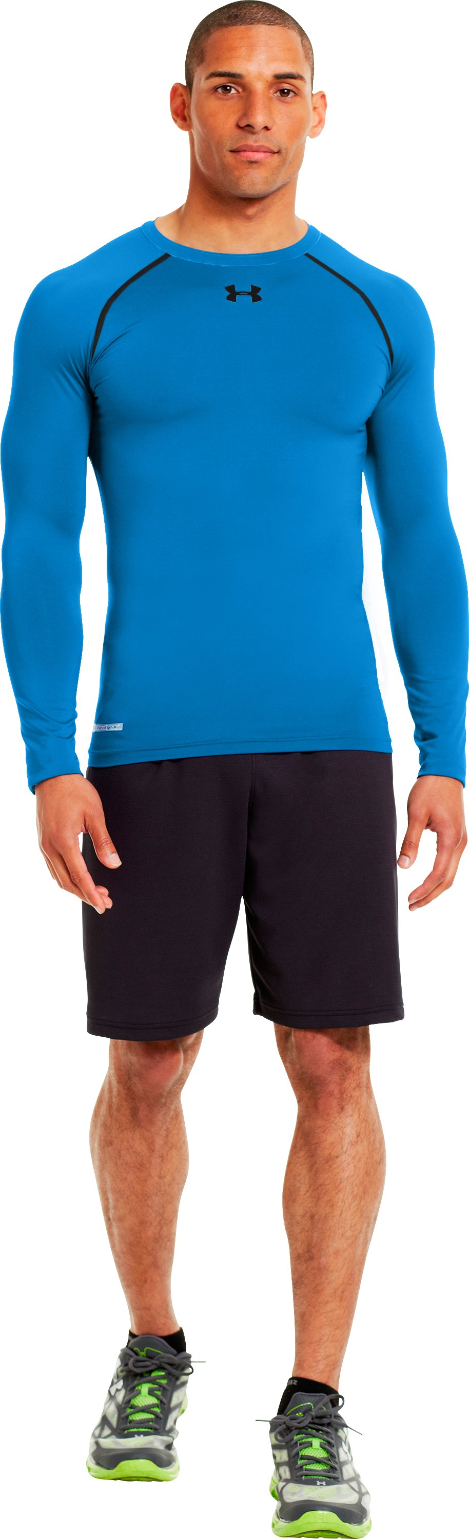 Men's HeatGear® Sonic Compression Long Sleeve, ELECTRIC BLUE, zoomed image
