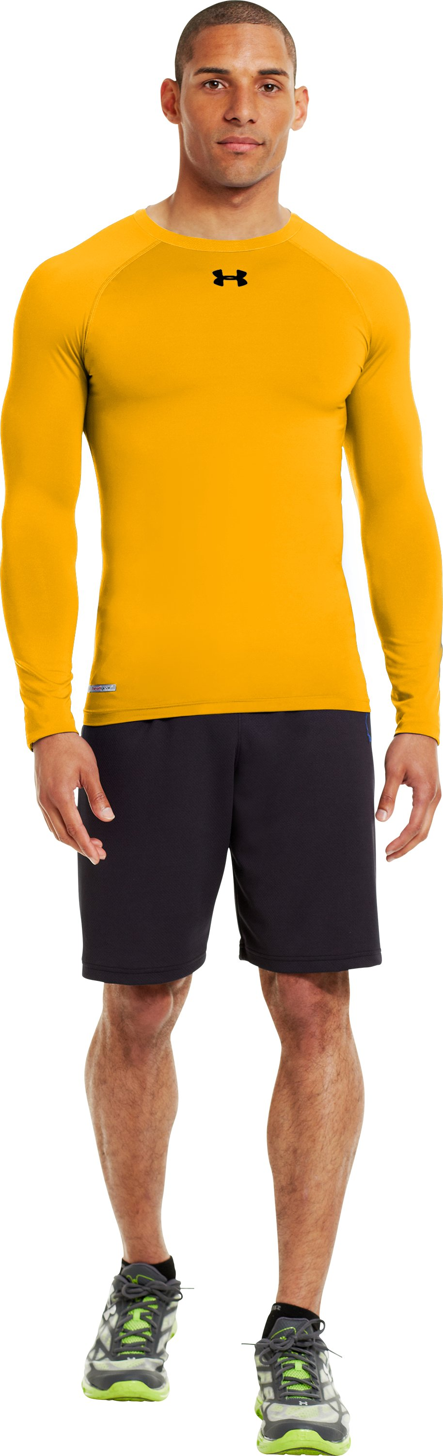 Men's HeatGear® Sonic Compression Long Sleeve, Steeltown Gold, Front