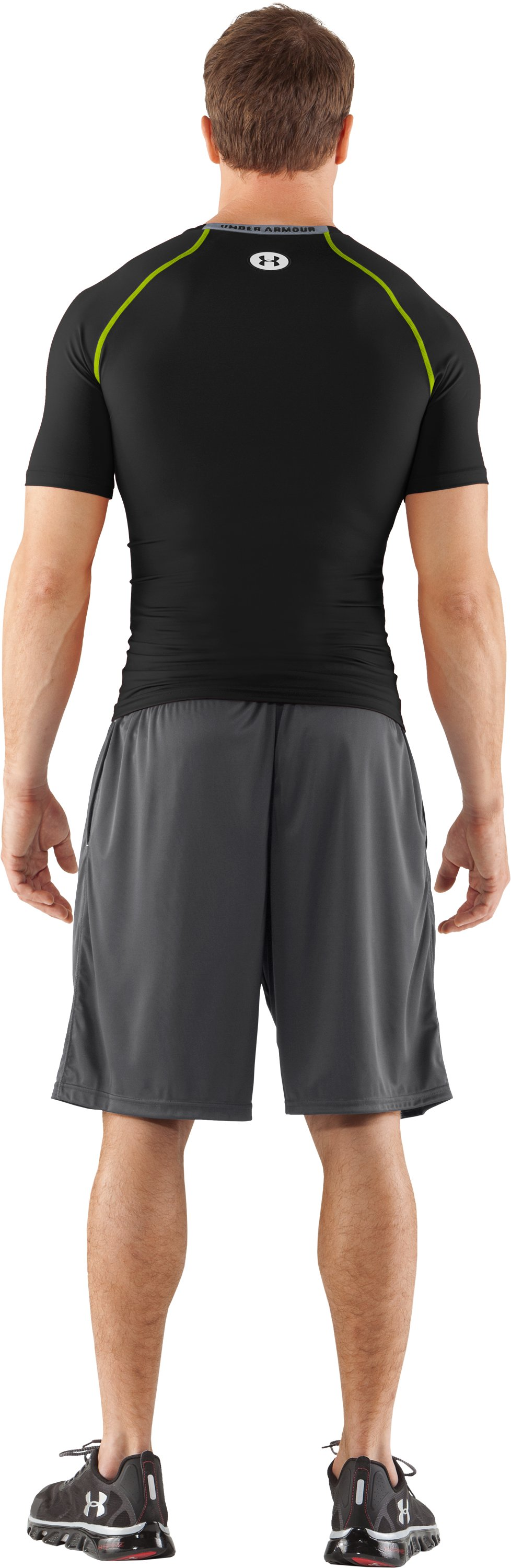 Men's HeatGear® Armour Compression T-Shirt , Black , Back