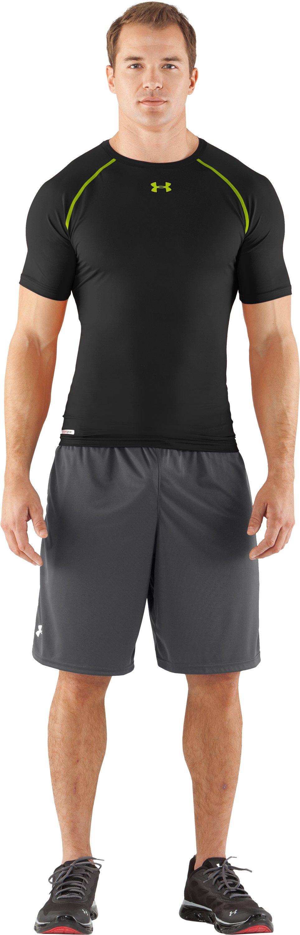 Men's HeatGear® Armour Compression T-Shirt , Black , Front