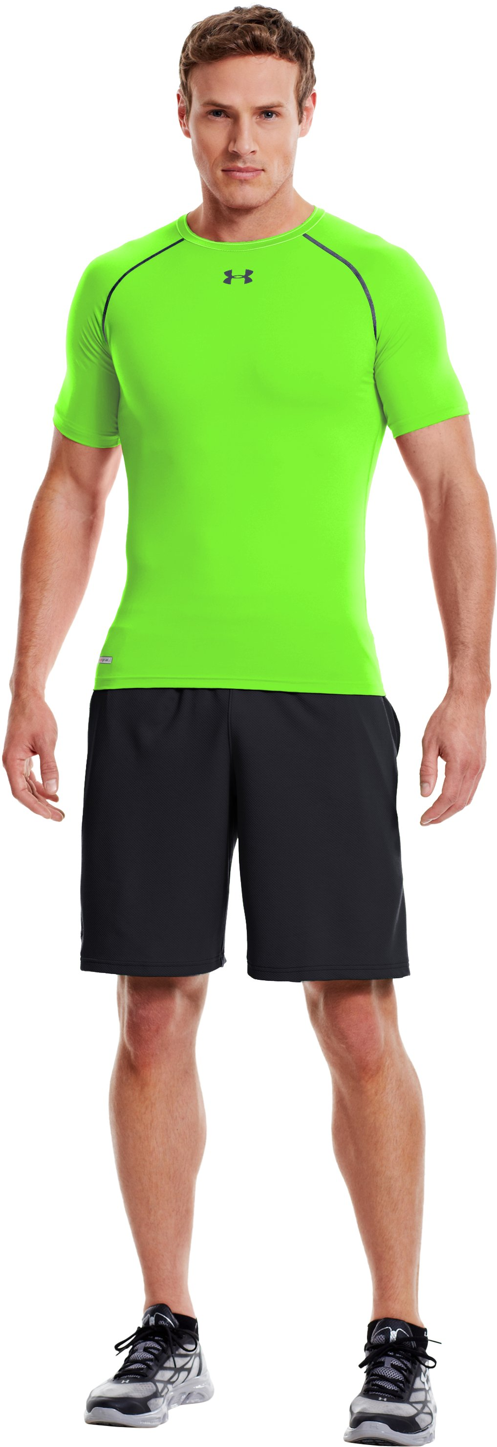 Men's HeatGear® Armour Compression T-Shirt , HYPER GREEN, zoomed image
