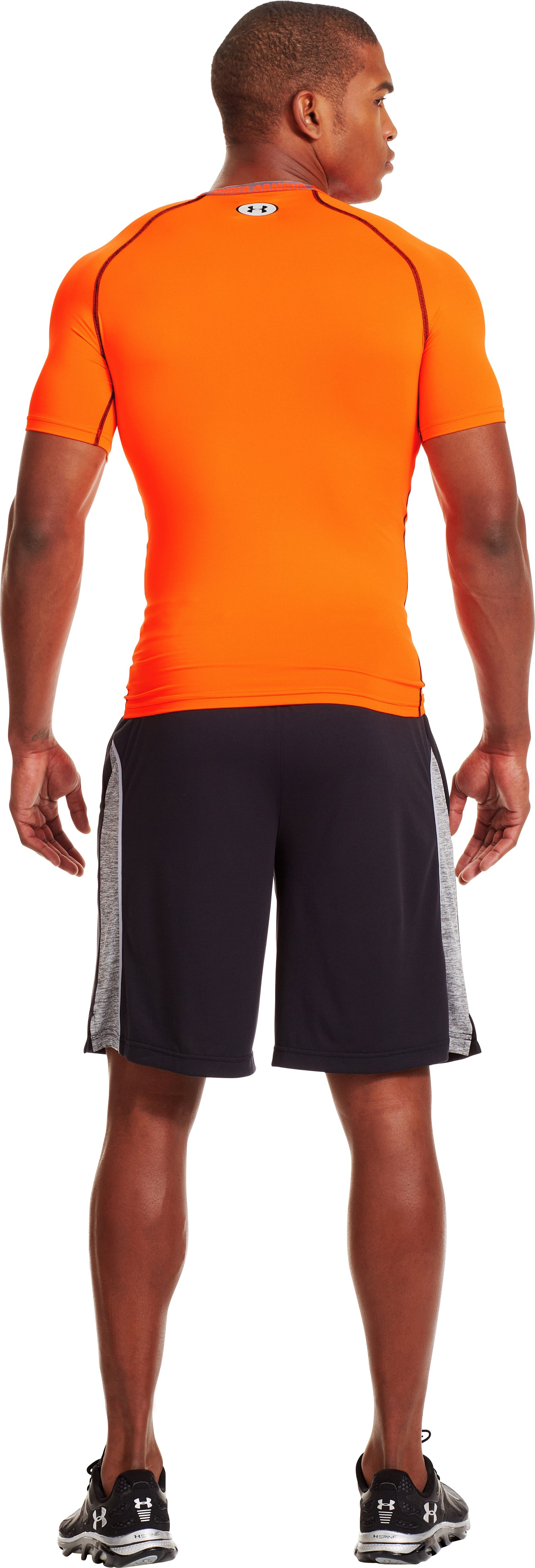 Men's HeatGear® Armour Compression T-Shirt , Blaze Orange, Back