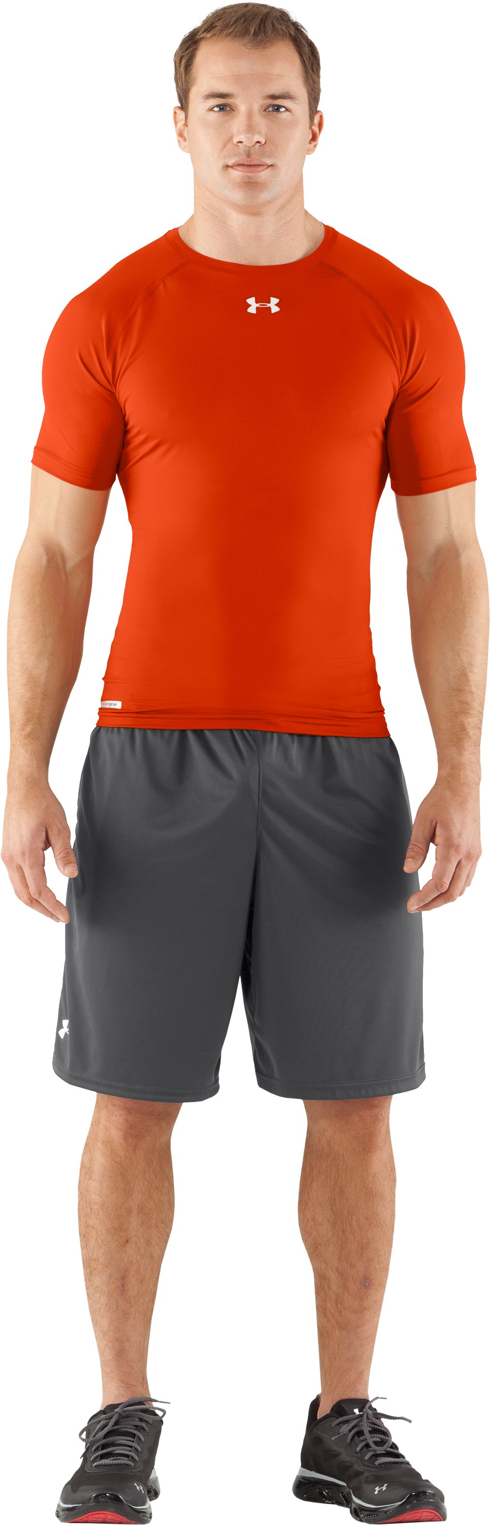 Men's HeatGear® Armour Compression T-Shirt , Dark Orange, Front