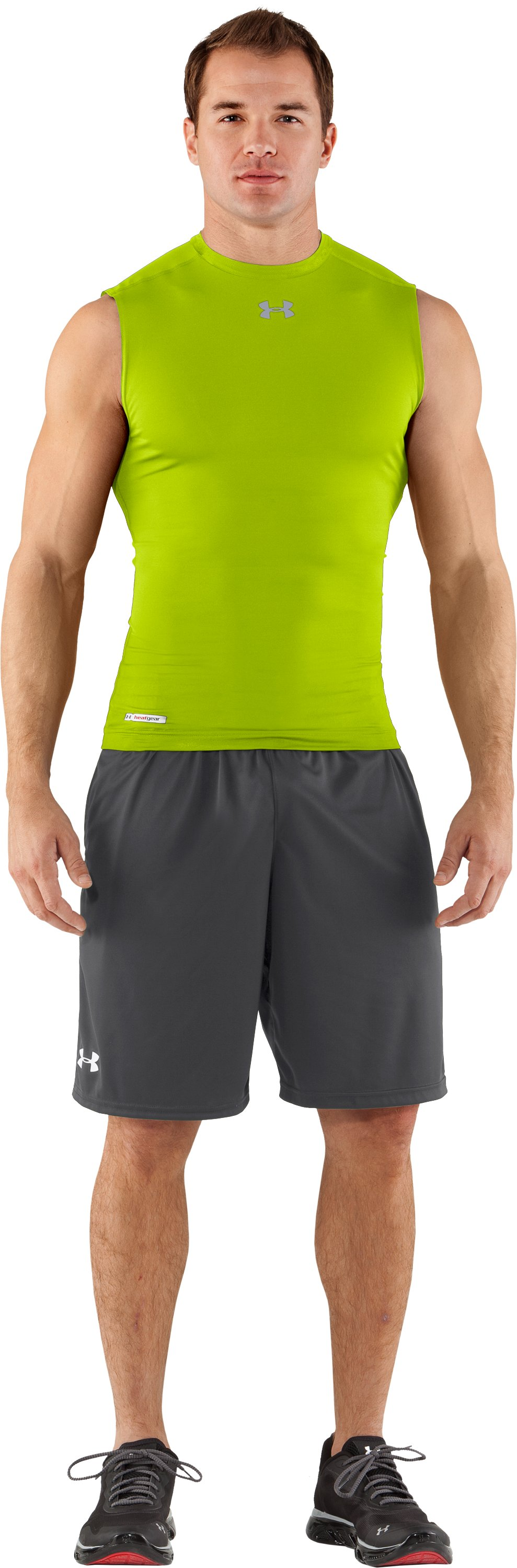 Men's HeatGear® Sonic Compression Sleeveless, Velocity, Front