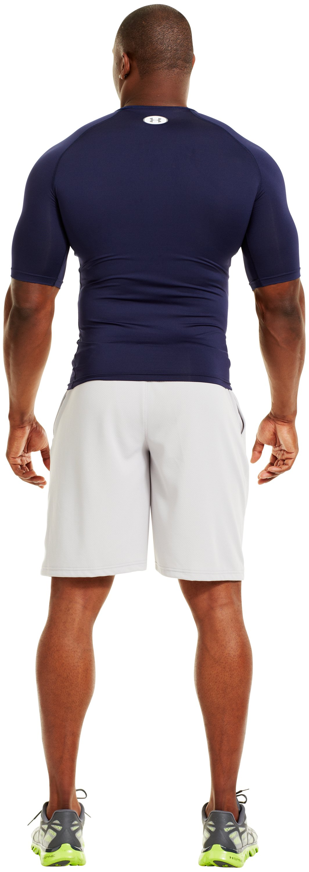 Men's HeatGear® Sonic Compression Half Sleeve, Midnight Navy, Back