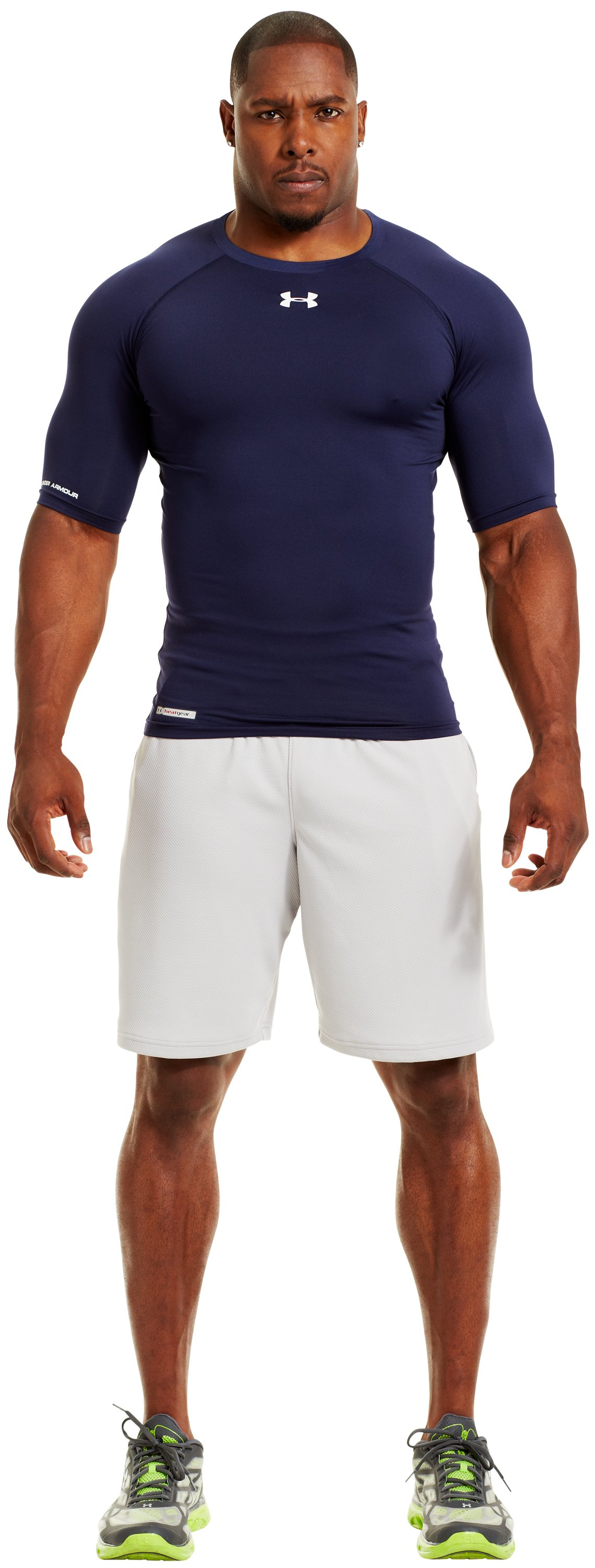 Men's HeatGear® Sonic Compression Half Sleeve, Midnight Navy, Front