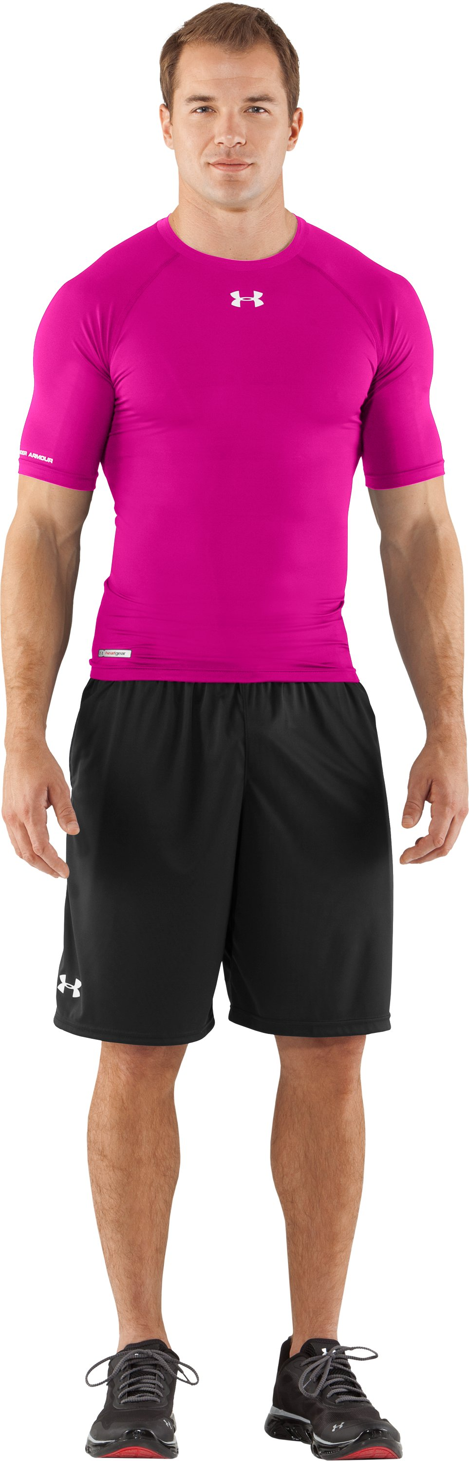 Men's HeatGear® Sonic Compression Half Sleeve, Tropic Pink, Front