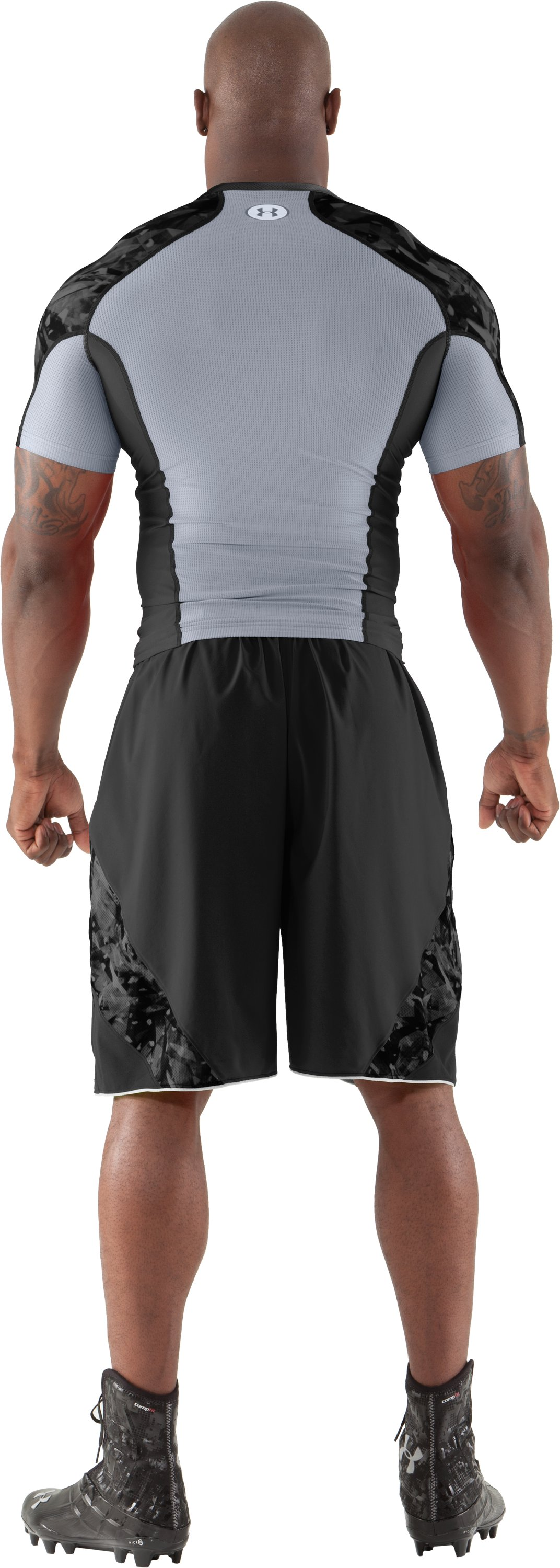 Men's NFL Combine Authentic Compression Short Sleeve, Black , Back