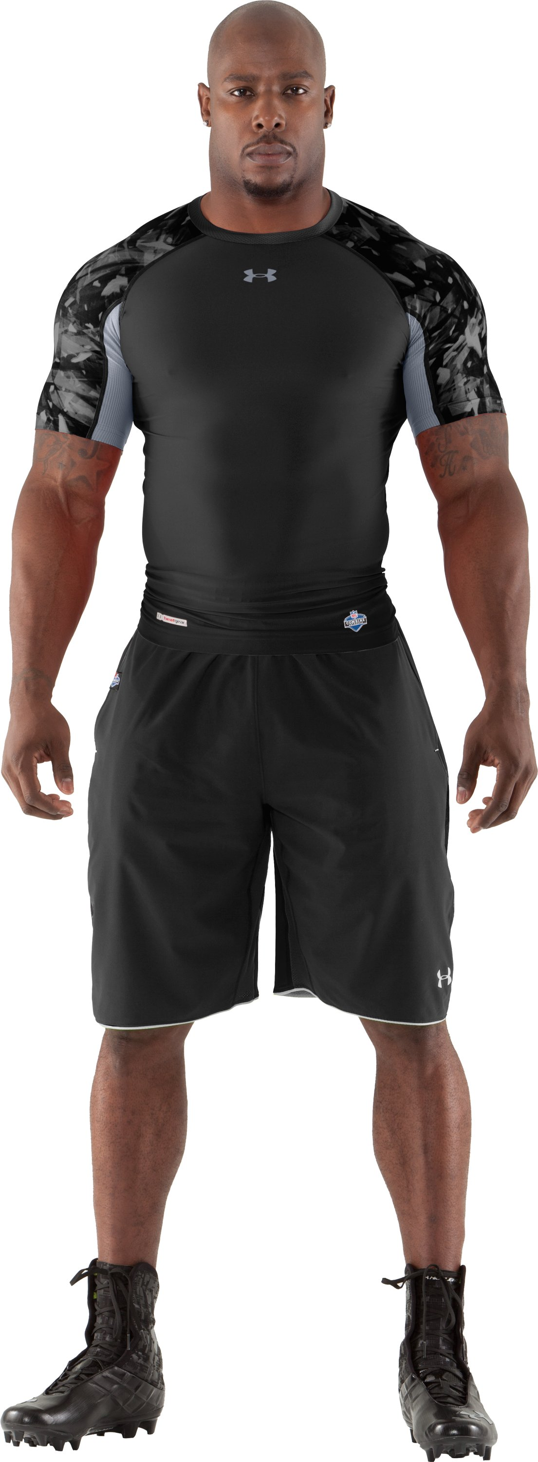 Men's NFL Combine Authentic Compression Short Sleeve, Black , Front