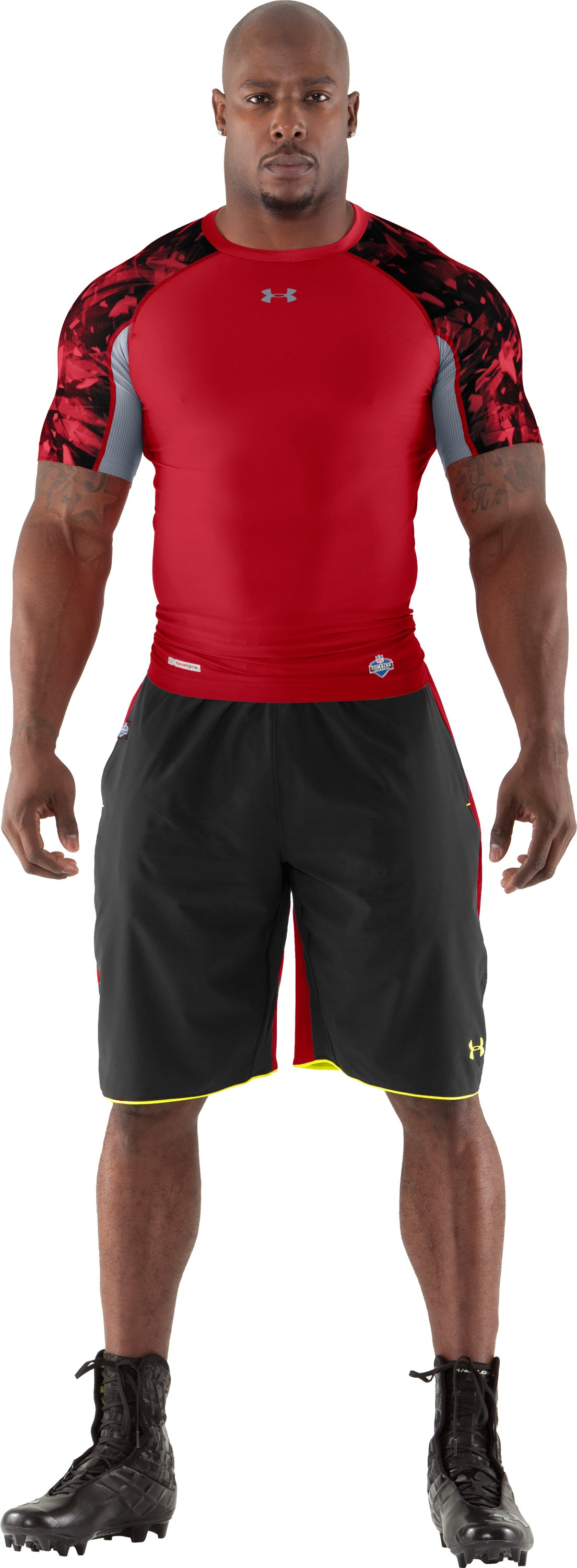 Men's NFL Combine Authentic Compression Short Sleeve, Red, Front