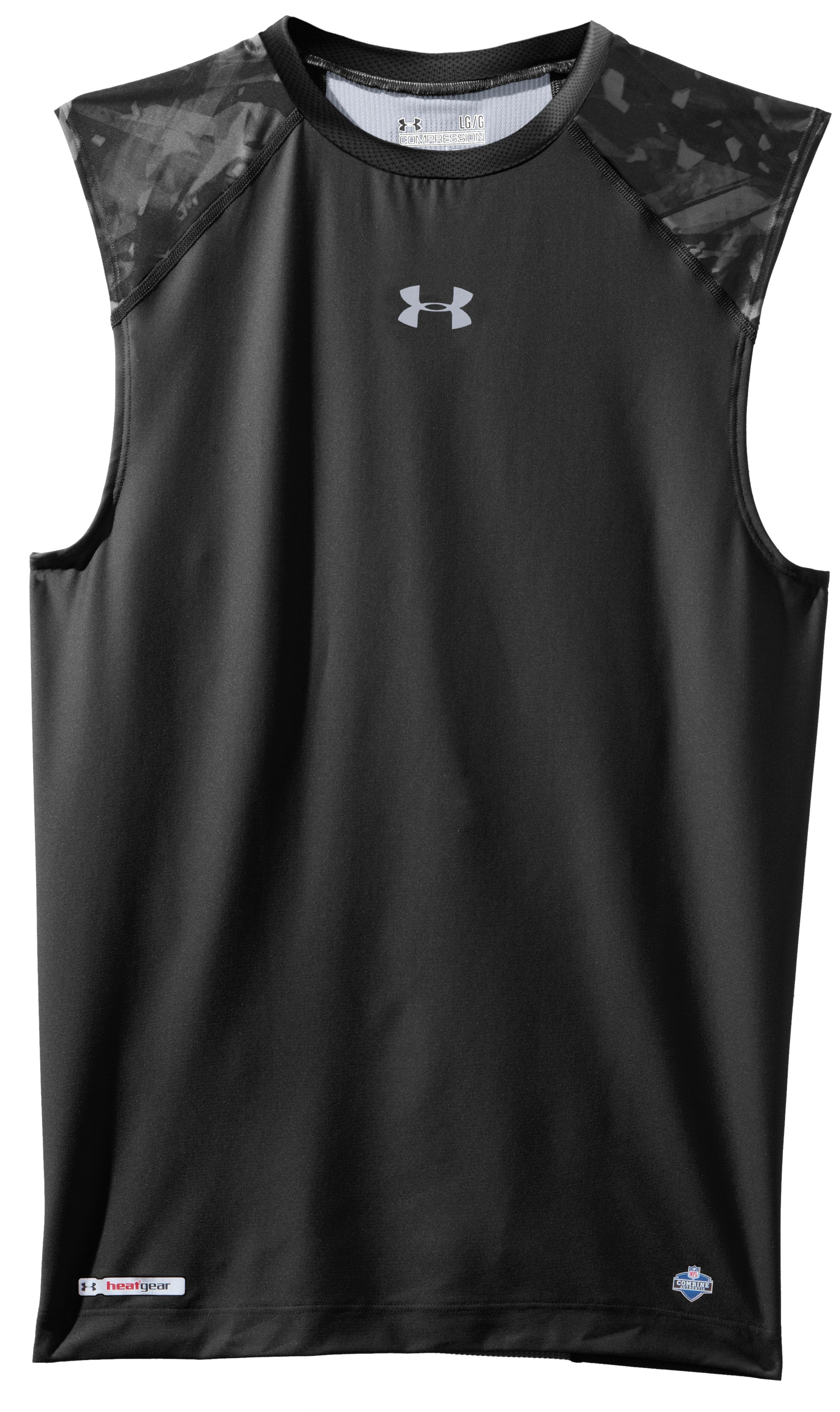 Men's NFL Combine Authentic Compression Sleeveless, Black , Laydown