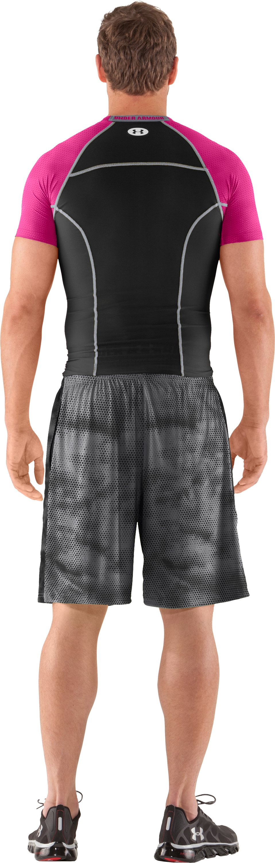 Men's HeatGear® Renegade Compression Short Sleeve, Black , Back