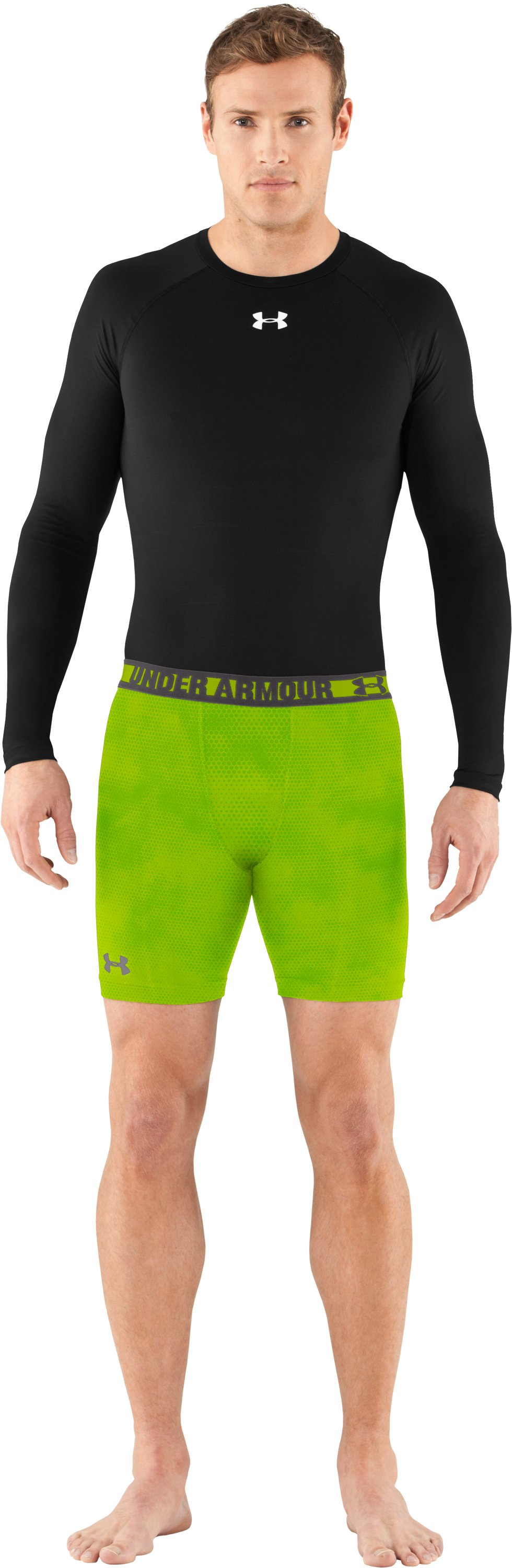 Men's HeatGear® Sonic Printed Compression Shorts, Velocity, zoomed image