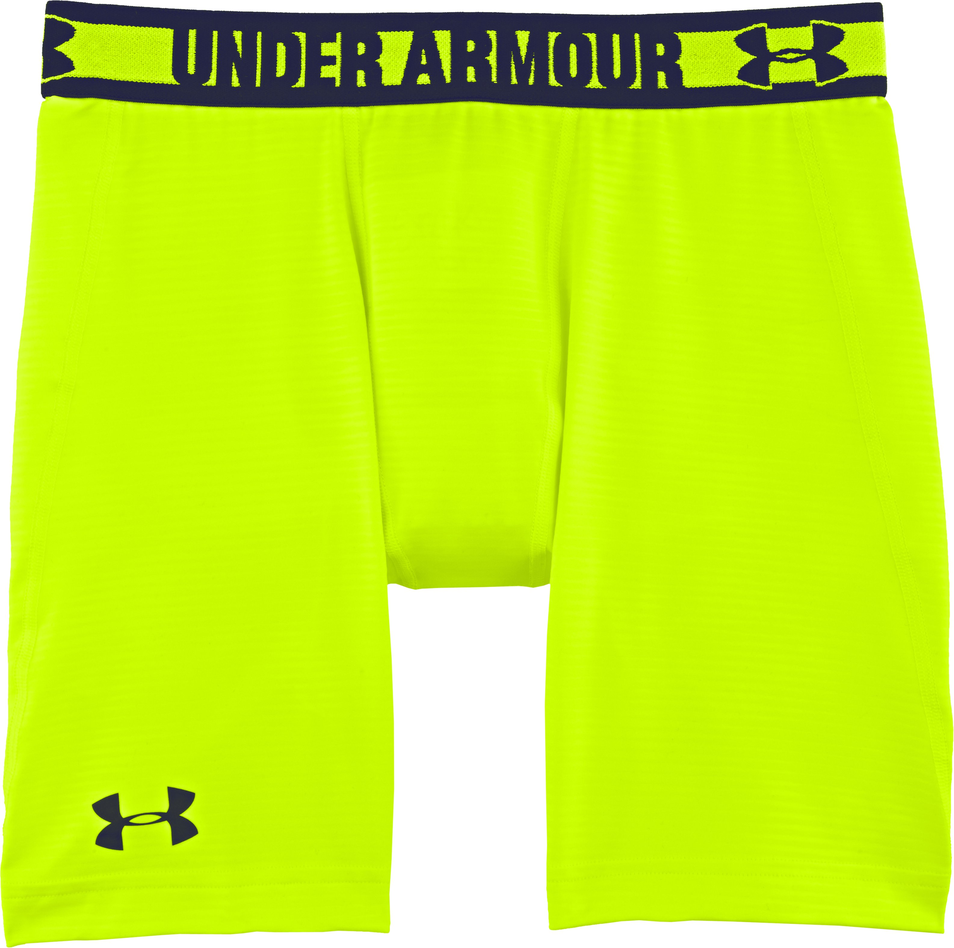 Men's HeatGear® Sonic Printed Compression Shorts, High-Vis Yellow, Laydown