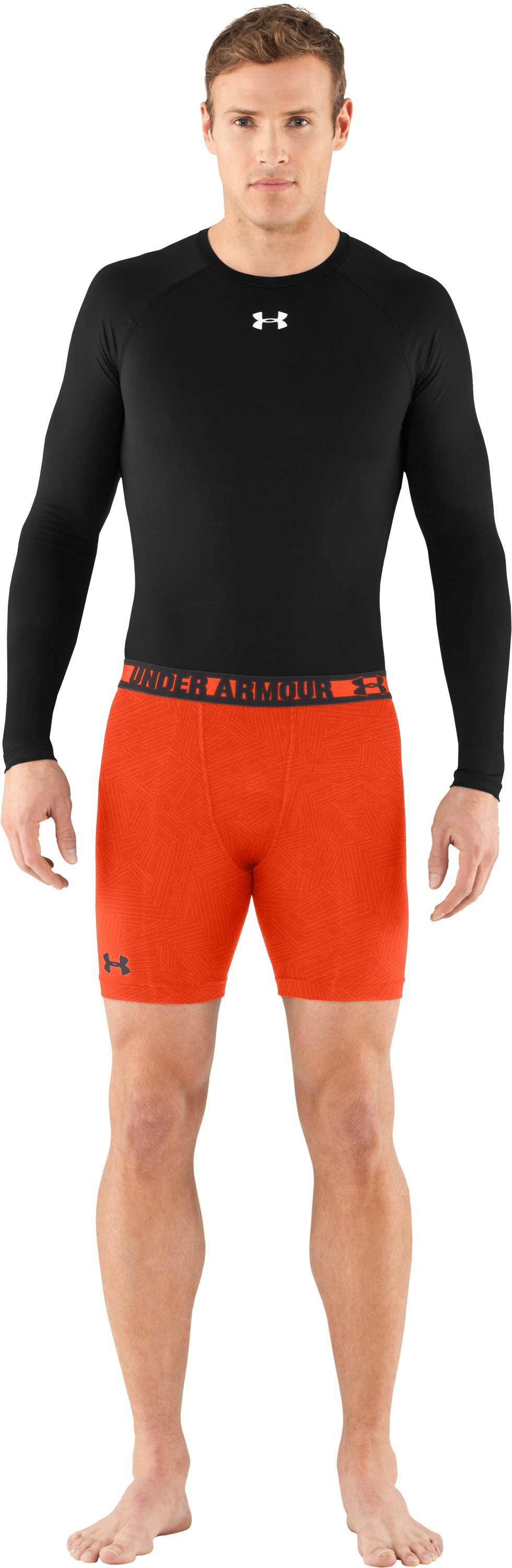 Men's HeatGear® Sonic Printed Compression Shorts, Explosive